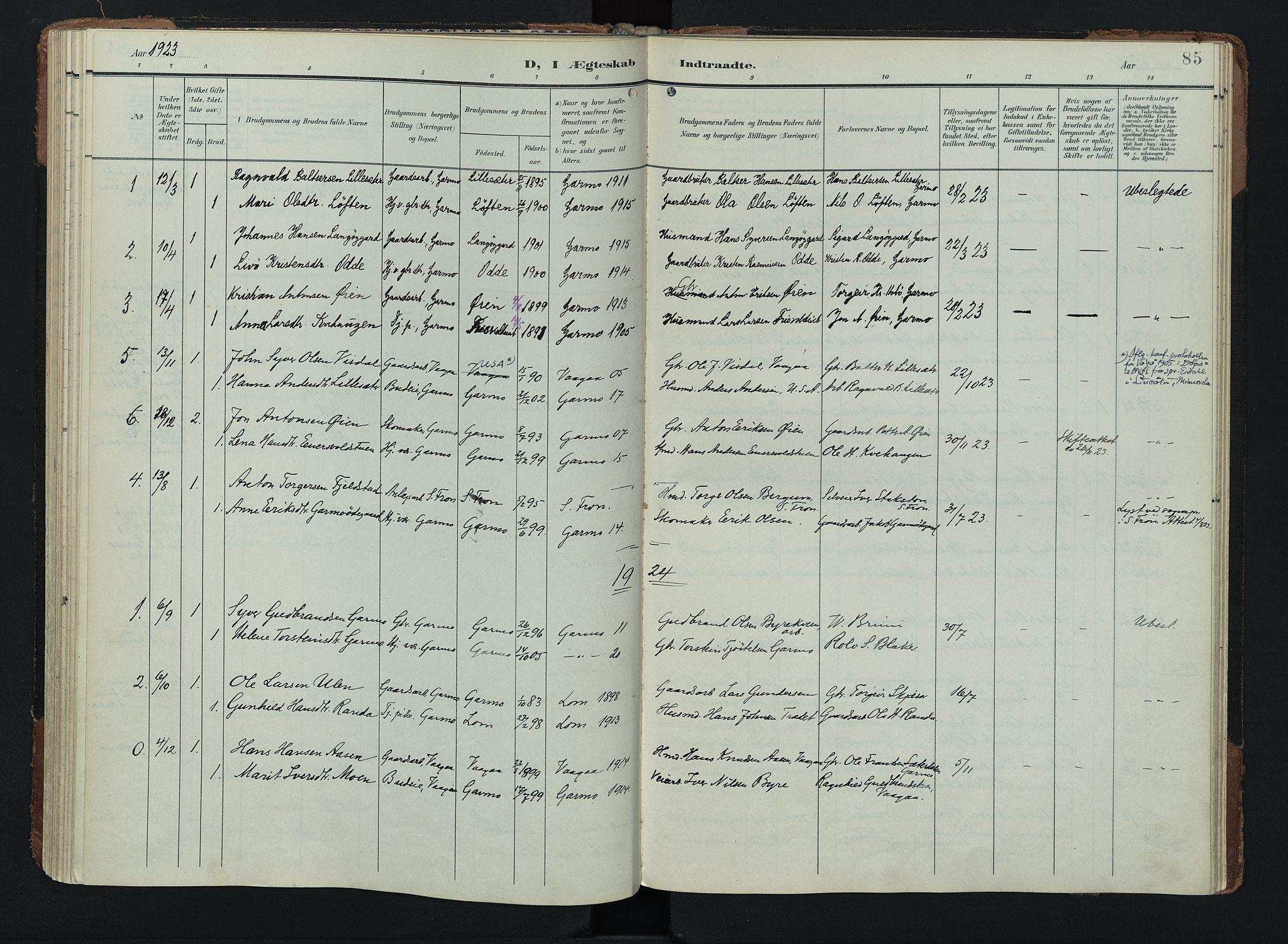 SAH, Lom prestekontor, K/L0011: Ministerialbok nr. 11, 1904-1928, s. 85