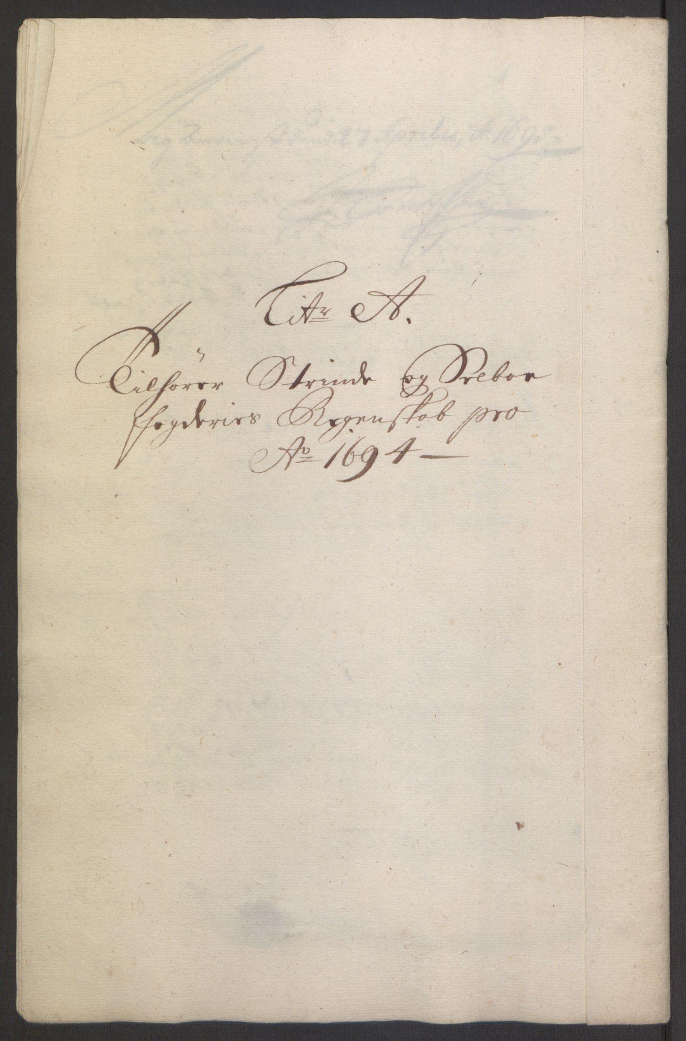 RA, Rentekammeret inntil 1814, Reviderte regnskaper, Fogderegnskap, R61/L4104: Fogderegnskap Strinda og Selbu, 1693-1694, s. 207