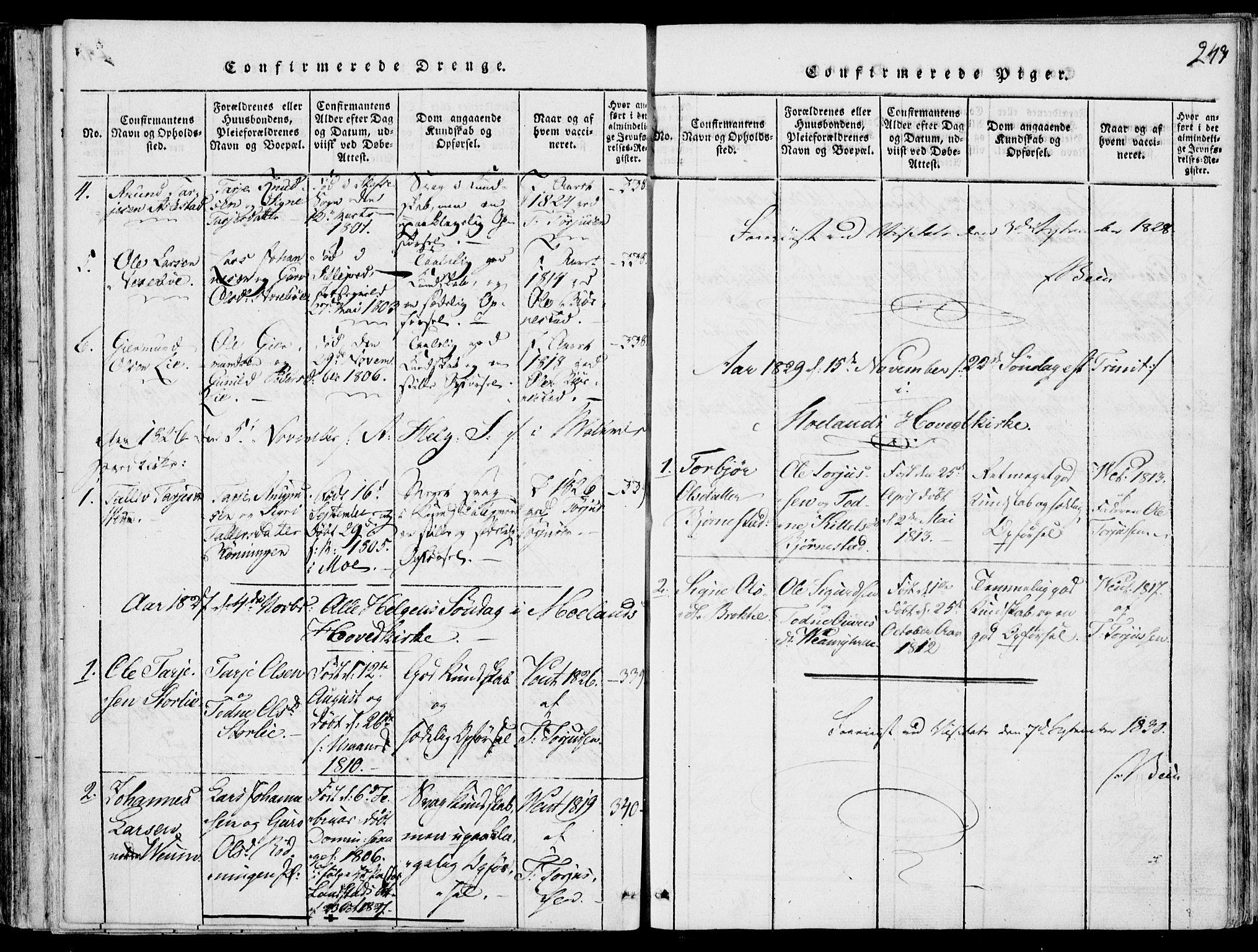 SAKO, Fyresdal kirkebøker, F/Fb/L0001: Ministerialbok nr. II 1, 1815-1854, s. 243