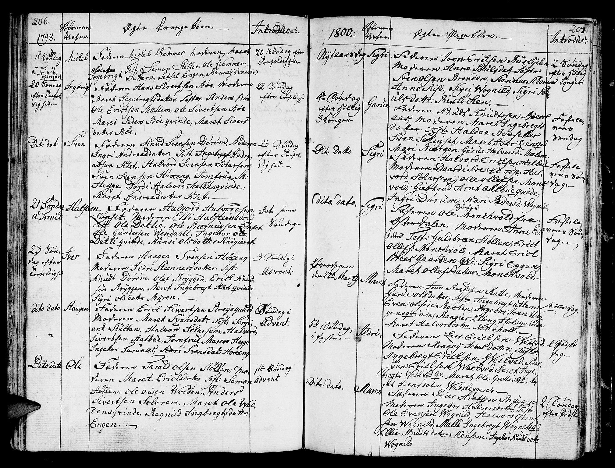 SAT, Ministerialprotokoller, klokkerbøker og fødselsregistre - Sør-Trøndelag, 678/L0893: Ministerialbok nr. 678A03, 1792-1805, s. 206-207