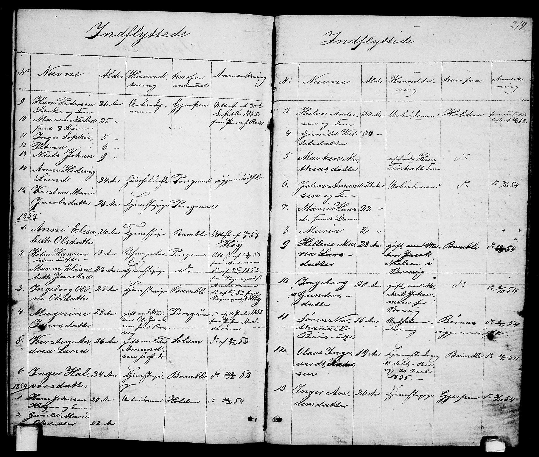SAKO, Brevik kirkebøker, G/Ga/L0002: Klokkerbok nr. 2, 1846-1865, s. 279