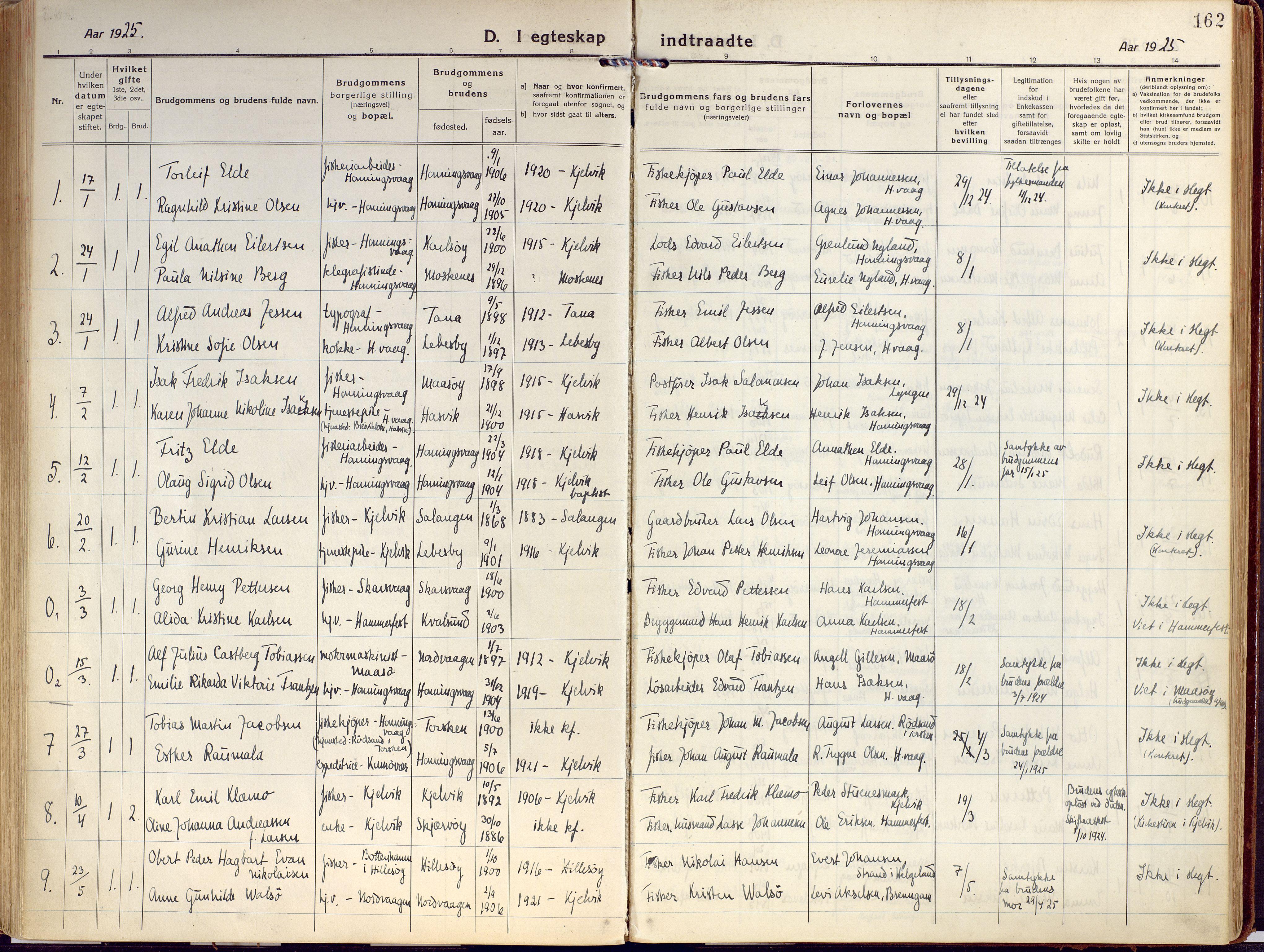 SATØ, Kjelvik/Nordkapp sokneprestkontor, H/Ha/L0002kirke: Ministerialbok nr. 2, 1920-1929, s. 162