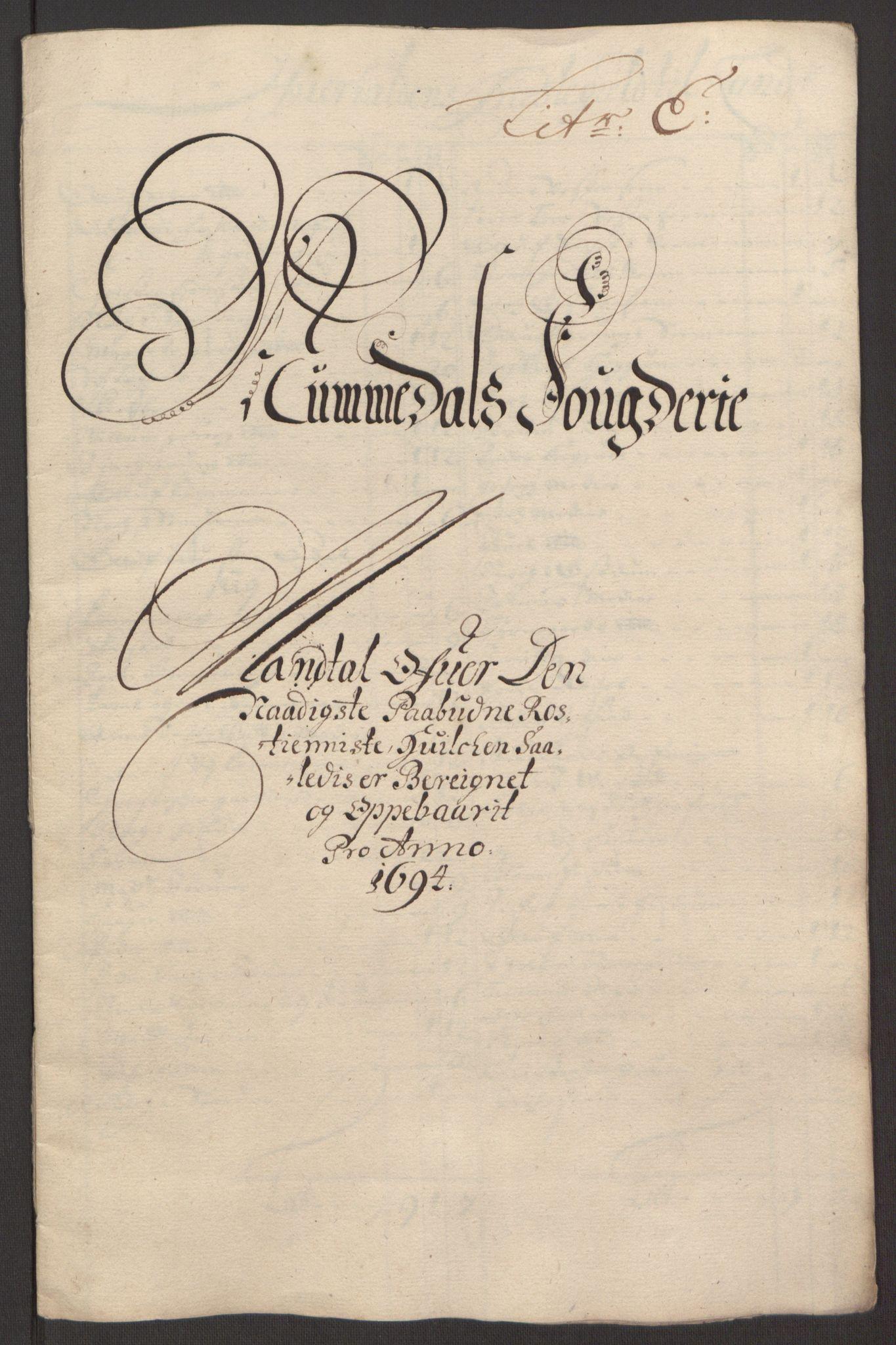 RA, Rentekammeret inntil 1814, Reviderte regnskaper, Fogderegnskap, R64/L4424: Fogderegnskap Namdal, 1692-1695, s. 362
