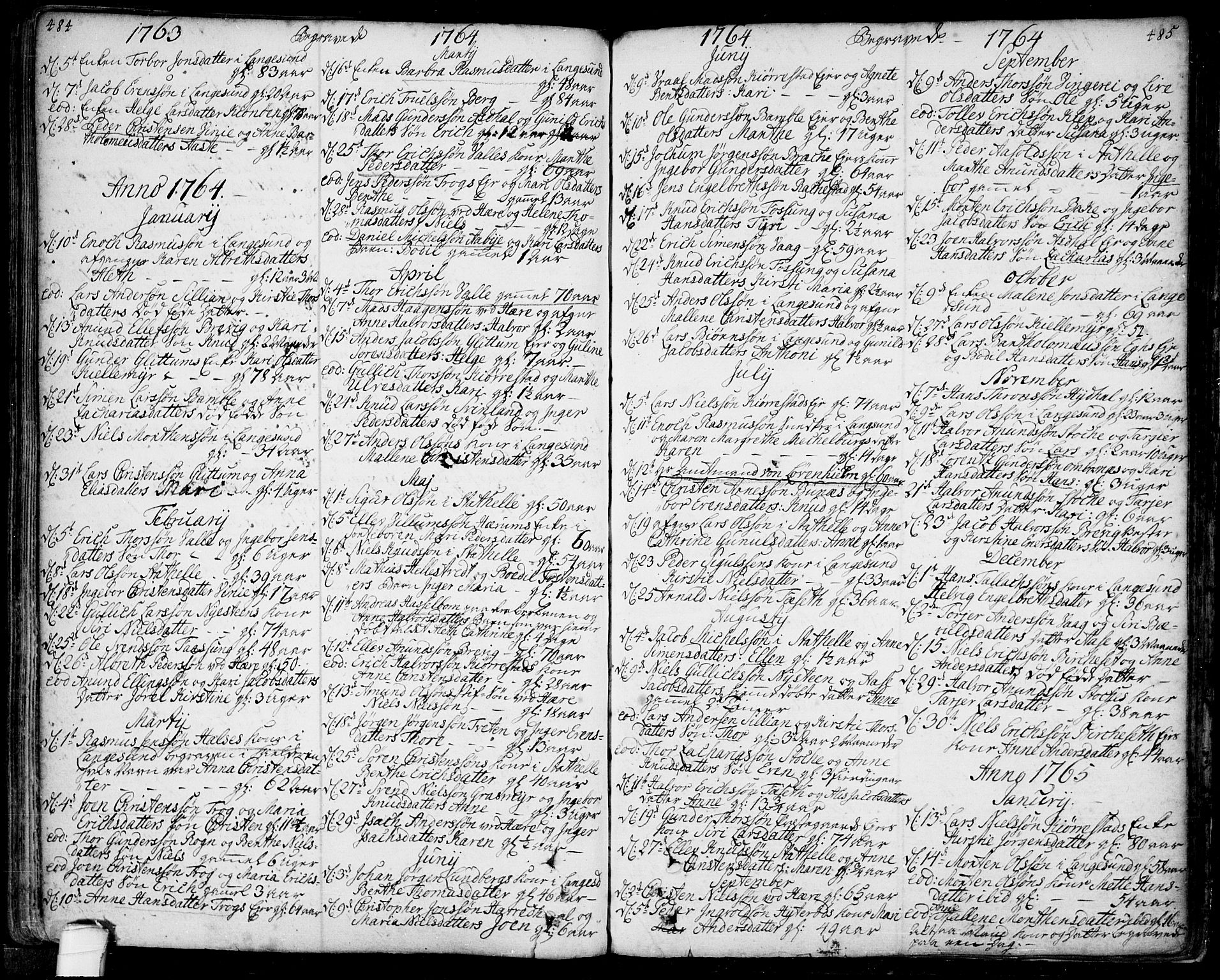 SAKO, Bamble kirkebøker, F/Fa/L0001: Ministerialbok nr. I 1, 1702-1774, s. 484-485
