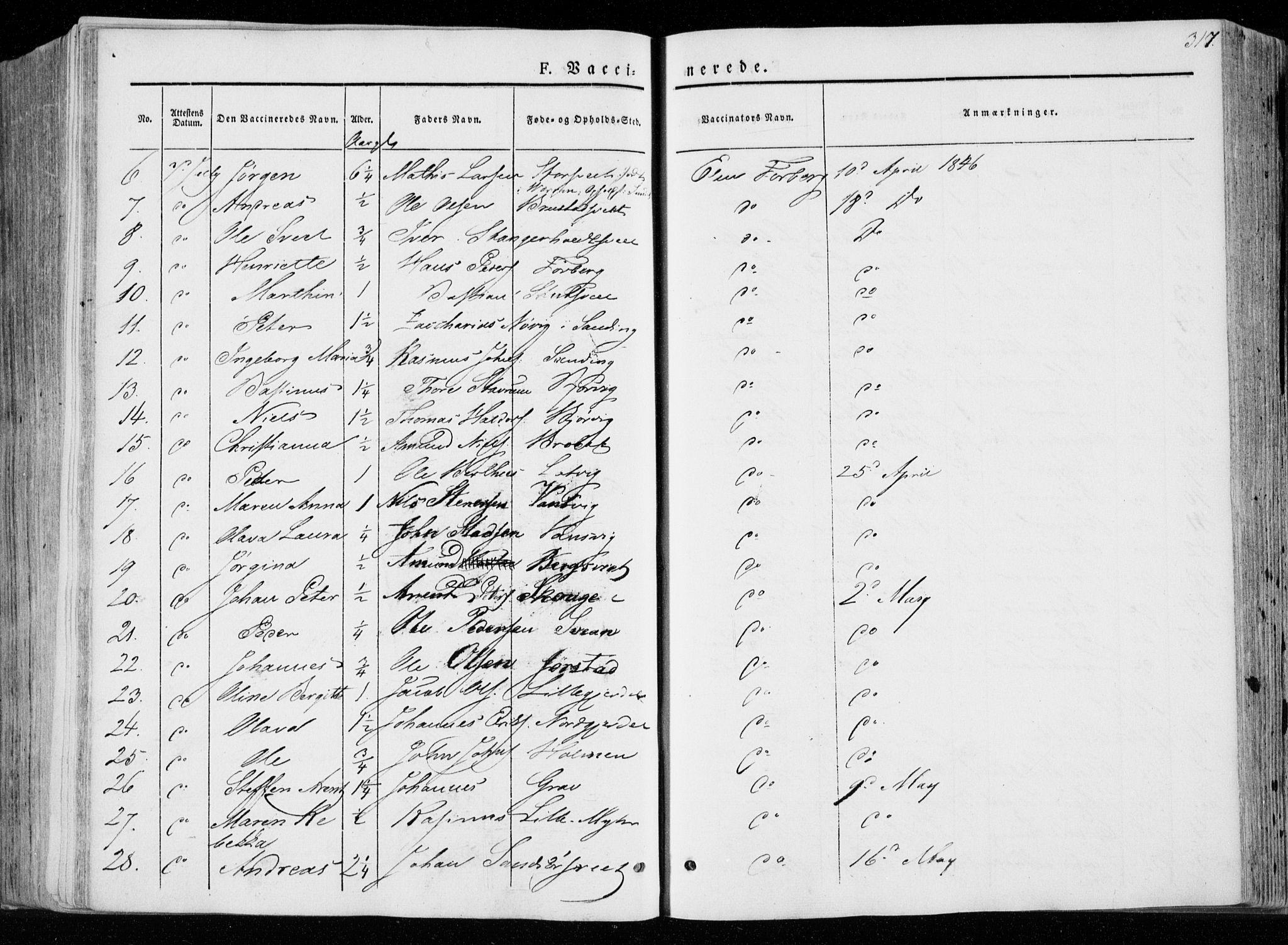 SAT, Ministerialprotokoller, klokkerbøker og fødselsregistre - Nord-Trøndelag, 722/L0218: Ministerialbok nr. 722A05, 1843-1868, s. 317