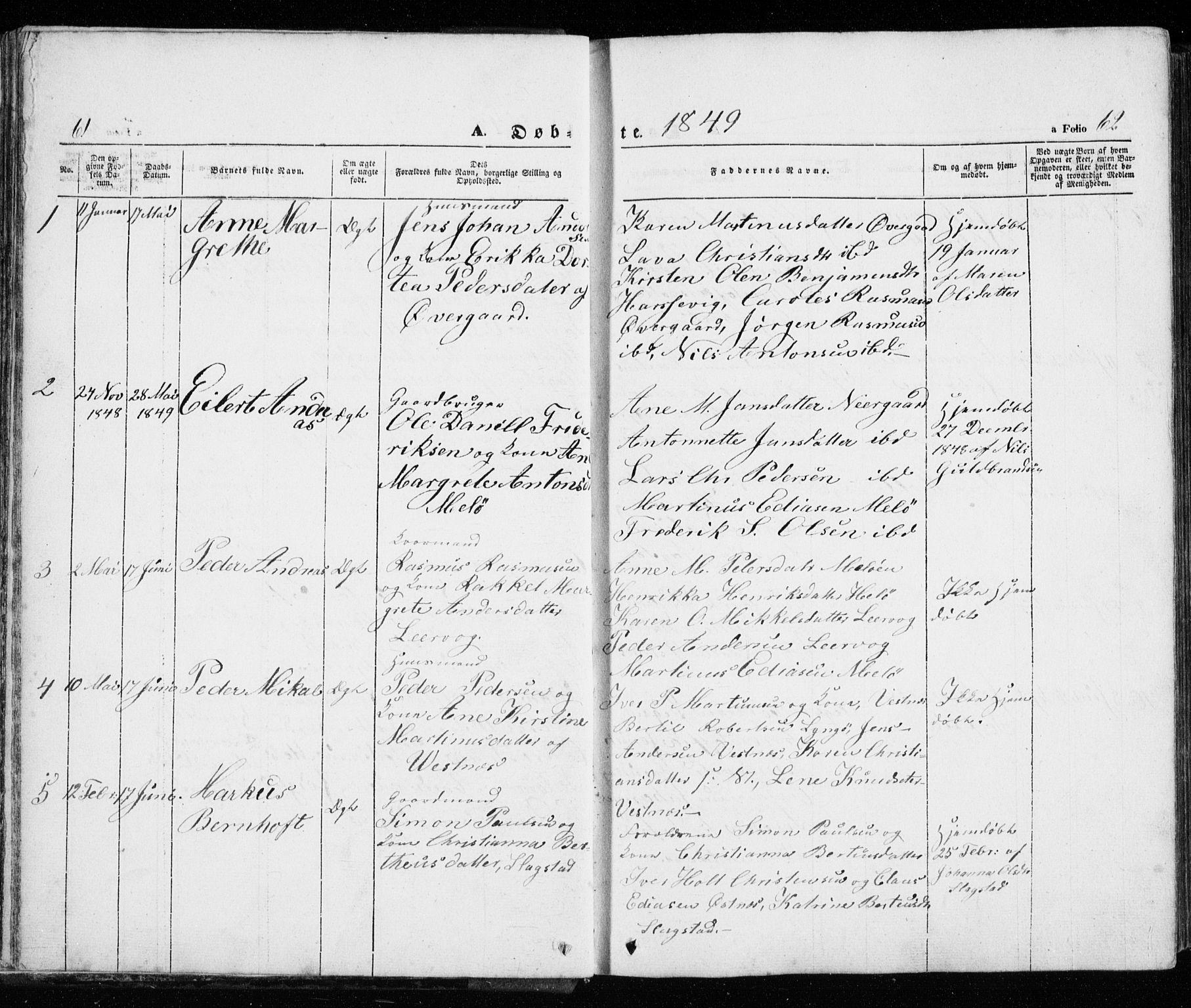 SATØ, Trondenes sokneprestkontor, H/Ha/L0010kirke: Ministerialbok nr. 10, 1840-1865, s. 61-62