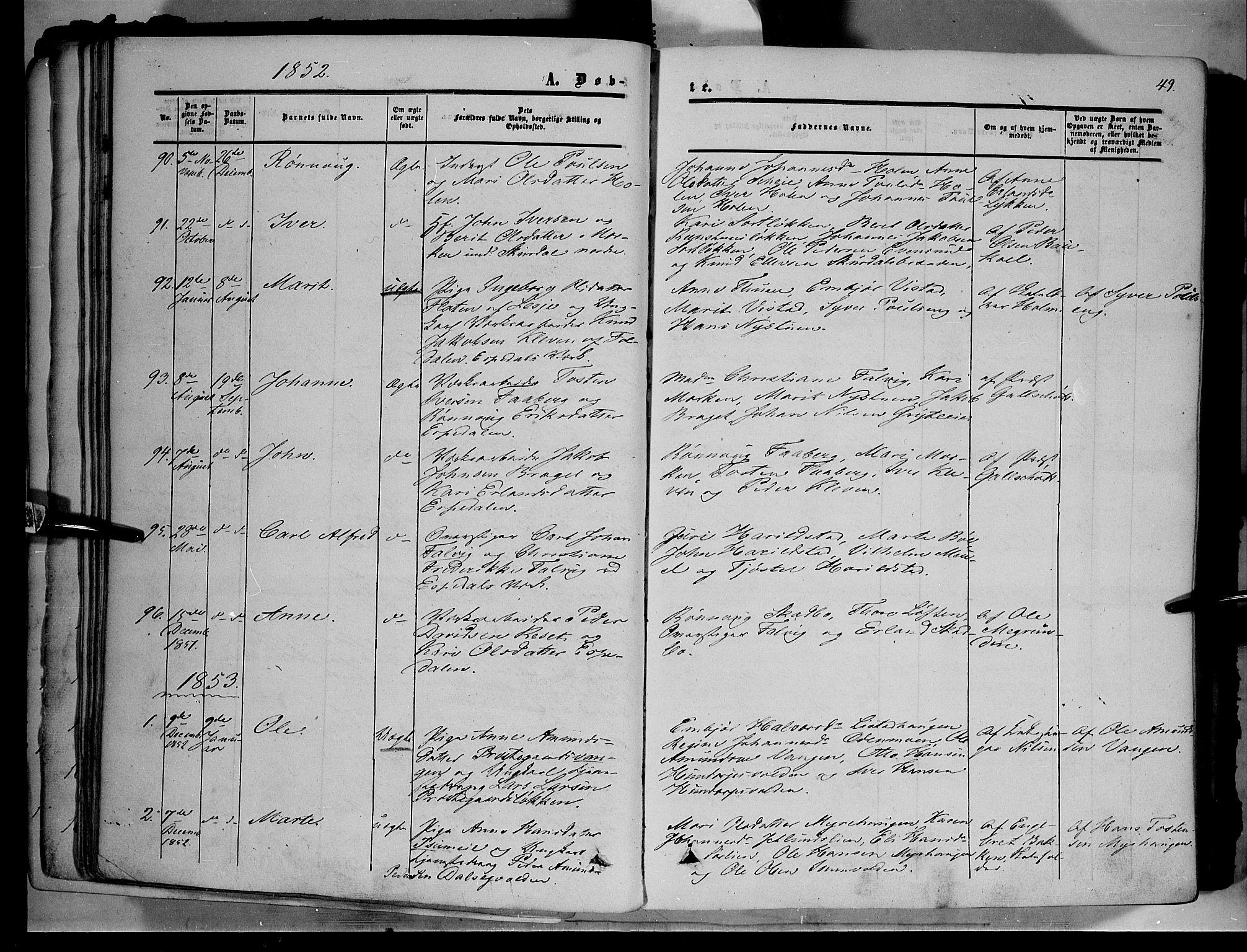 SAH, Sør-Fron prestekontor, H/Ha/Haa/L0001: Ministerialbok nr. 1, 1849-1863, s. 49