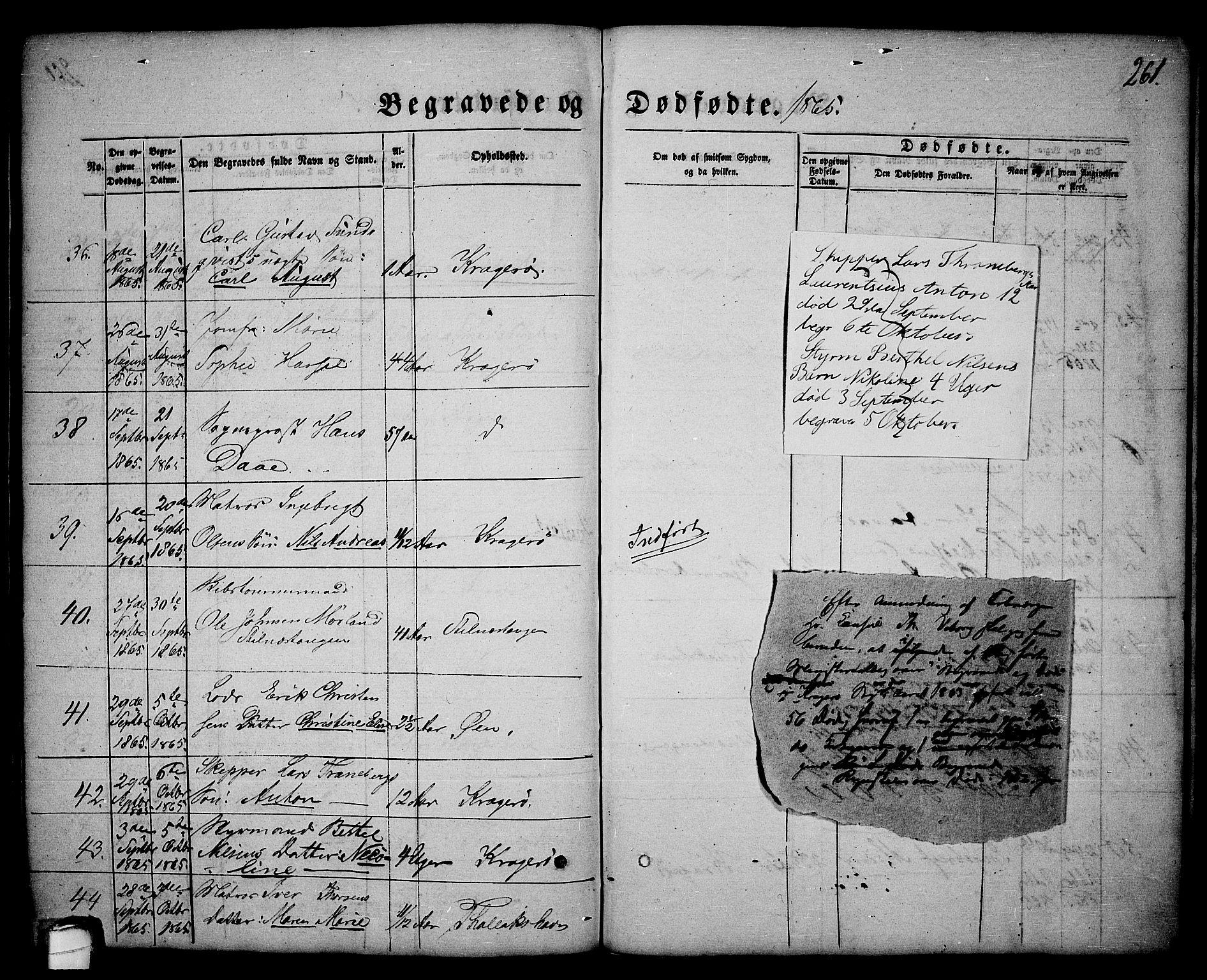SAKO, Kragerø kirkebøker, G/Ga/L0004: Klokkerbok nr. 4, 1853-1865, s. 261