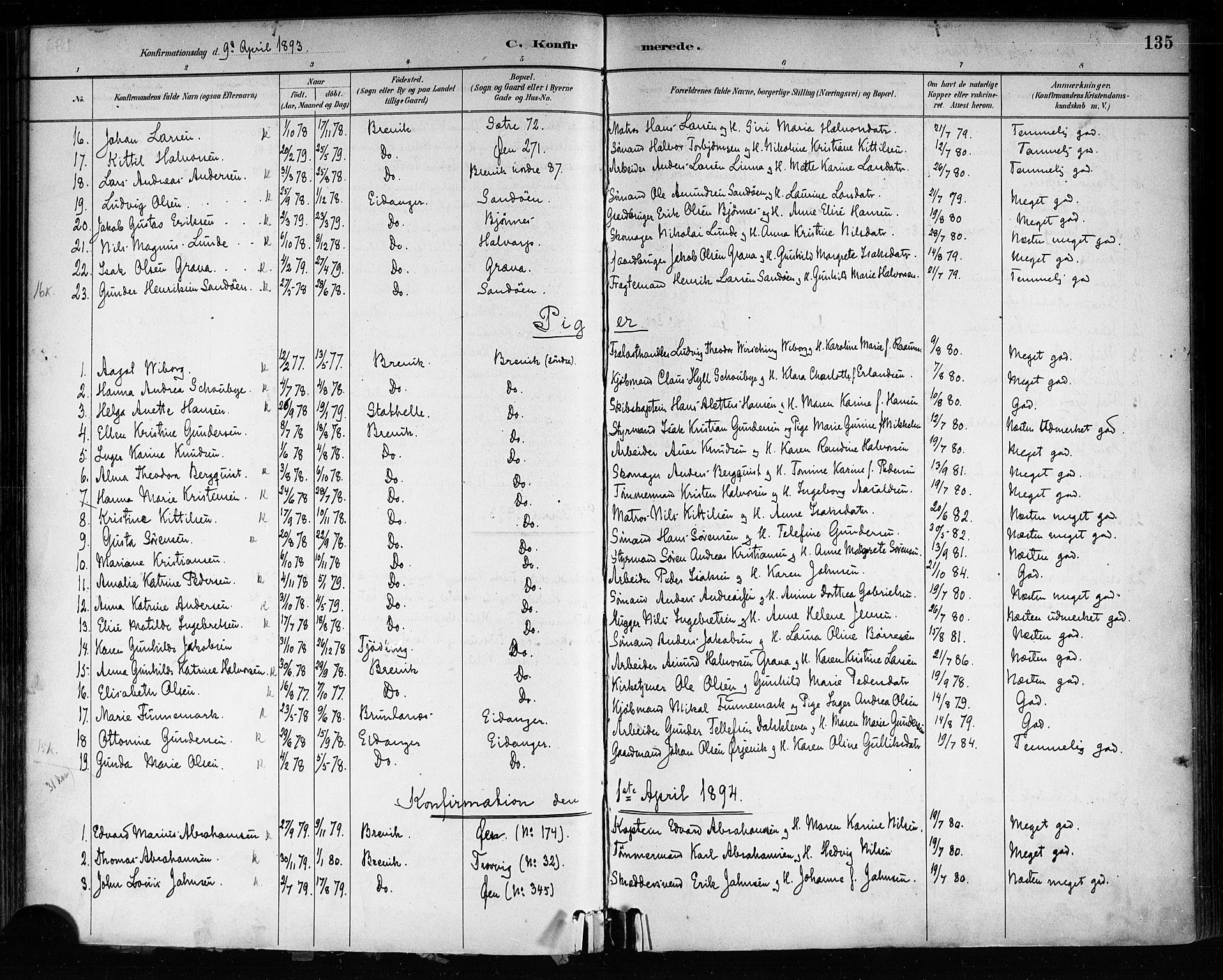 SAKO, Brevik kirkebøker, F/Fa/L0007: Ministerialbok nr. 7, 1882-1900, s. 135