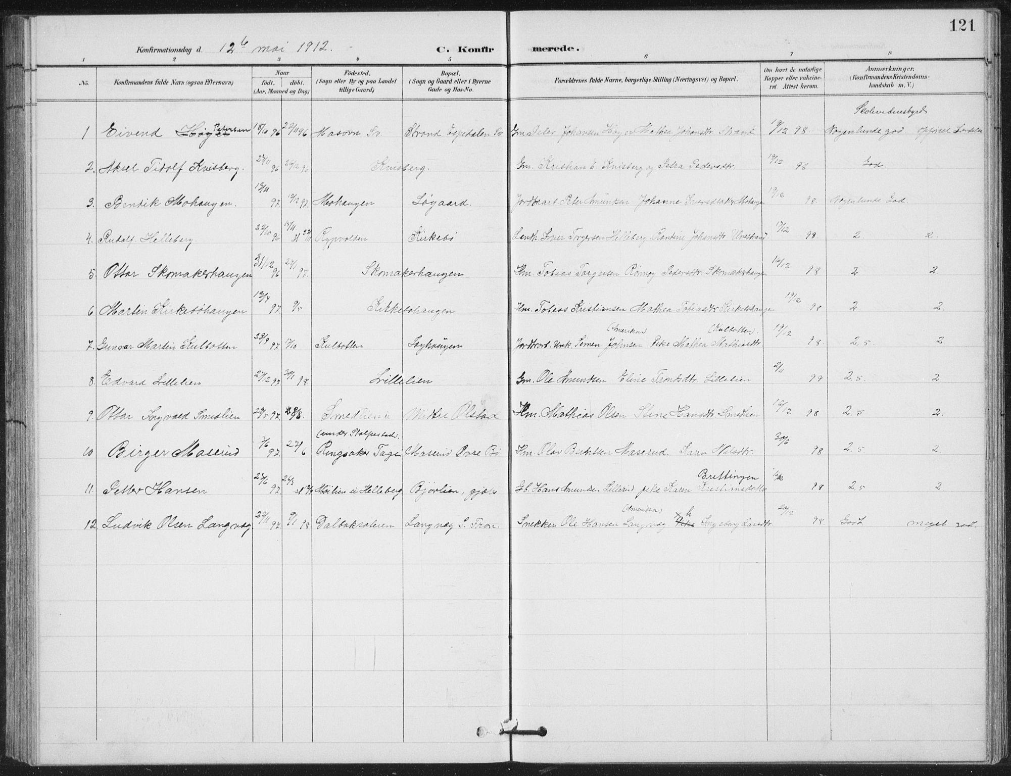 SAH, Vestre Gausdal prestekontor, Klokkerbok nr. 4, 1898-1939, s. 121