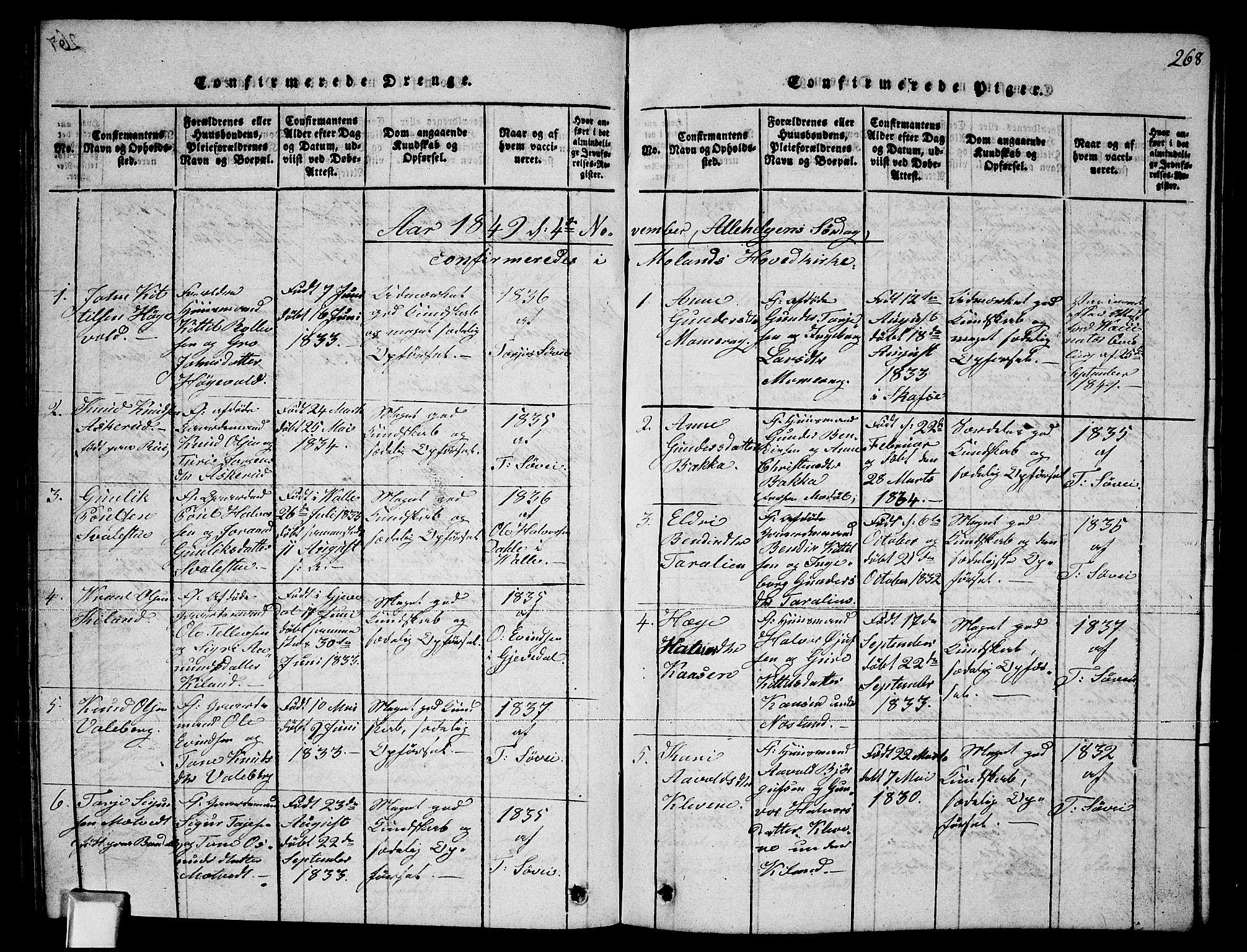 SAKO, Fyresdal kirkebøker, G/Ga/L0002: Klokkerbok nr. I 2, 1815-1857, s. 268