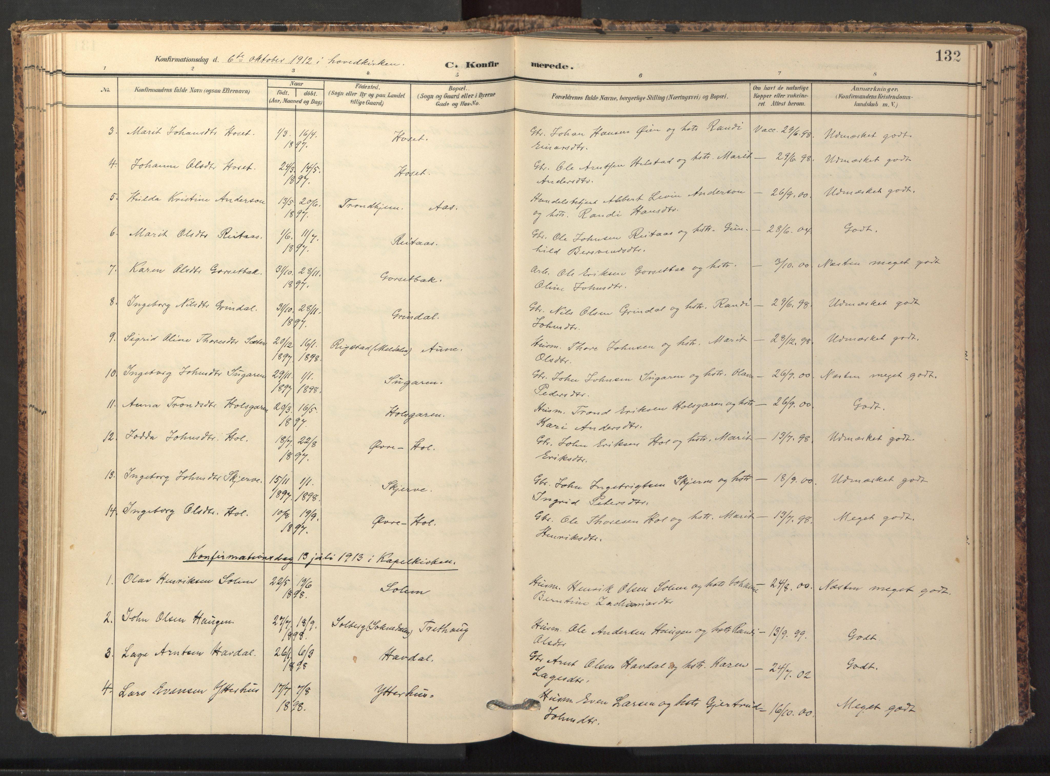 SAT, Ministerialprotokoller, klokkerbøker og fødselsregistre - Sør-Trøndelag, 674/L0873: Ministerialbok nr. 674A05, 1908-1923, s. 132