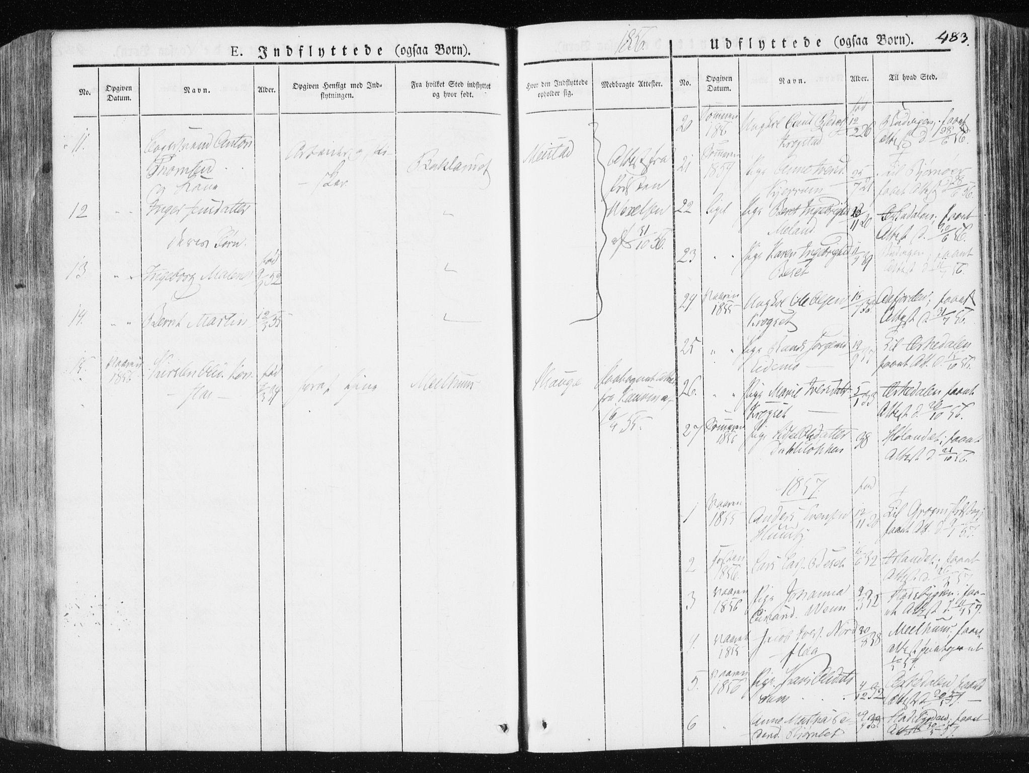 SAT, Ministerialprotokoller, klokkerbøker og fødselsregistre - Sør-Trøndelag, 665/L0771: Ministerialbok nr. 665A06, 1830-1856, s. 483
