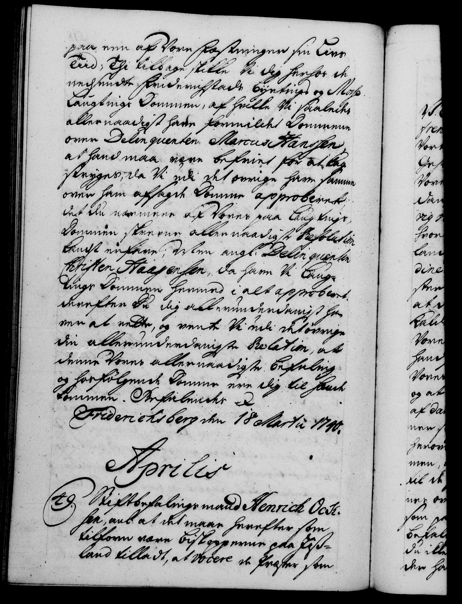 RA, Danske Kanselli 1572-1799, F/Fc/Fca/Fcab/L0028: Norske tegnelser, 1738-1740, s. 518b