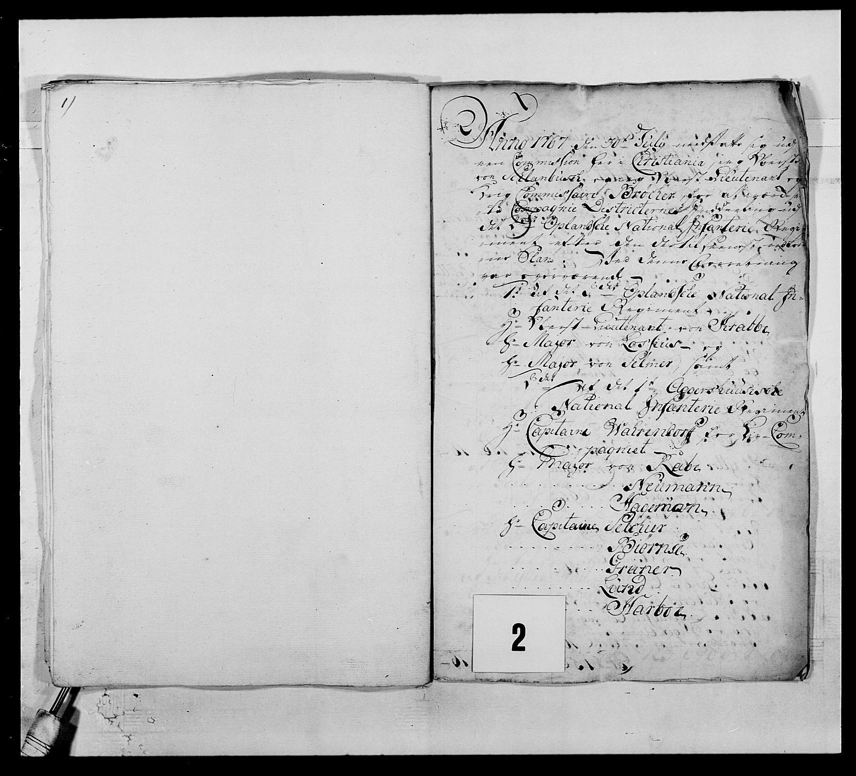 RA, Kommanderende general (KG I) med Det norske krigsdirektorium, E/Ea/L0507: 2. Opplandske regiment, 1766-1767, s. 13
