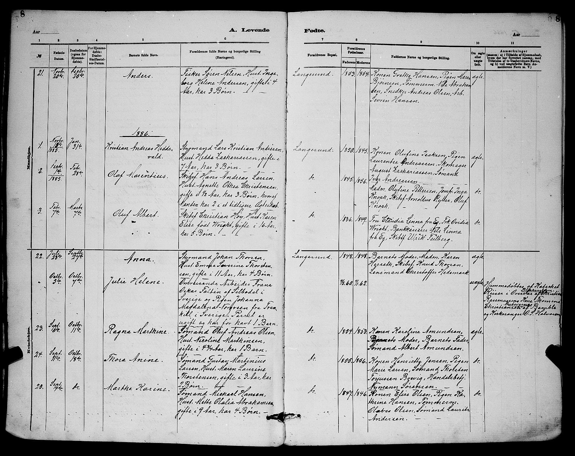 SAKO, Langesund kirkebøker, G/Ga/L0005: Klokkerbok nr. 5, 1884-1898, s. 8