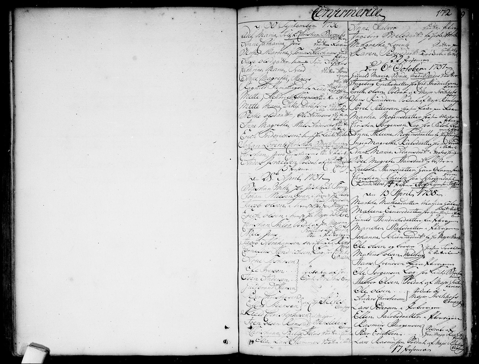 SAO, Garnisonsmenigheten Kirkebøker, F/Fa/L0001: Ministerialbok nr. 1, 1734-1756, s. 172