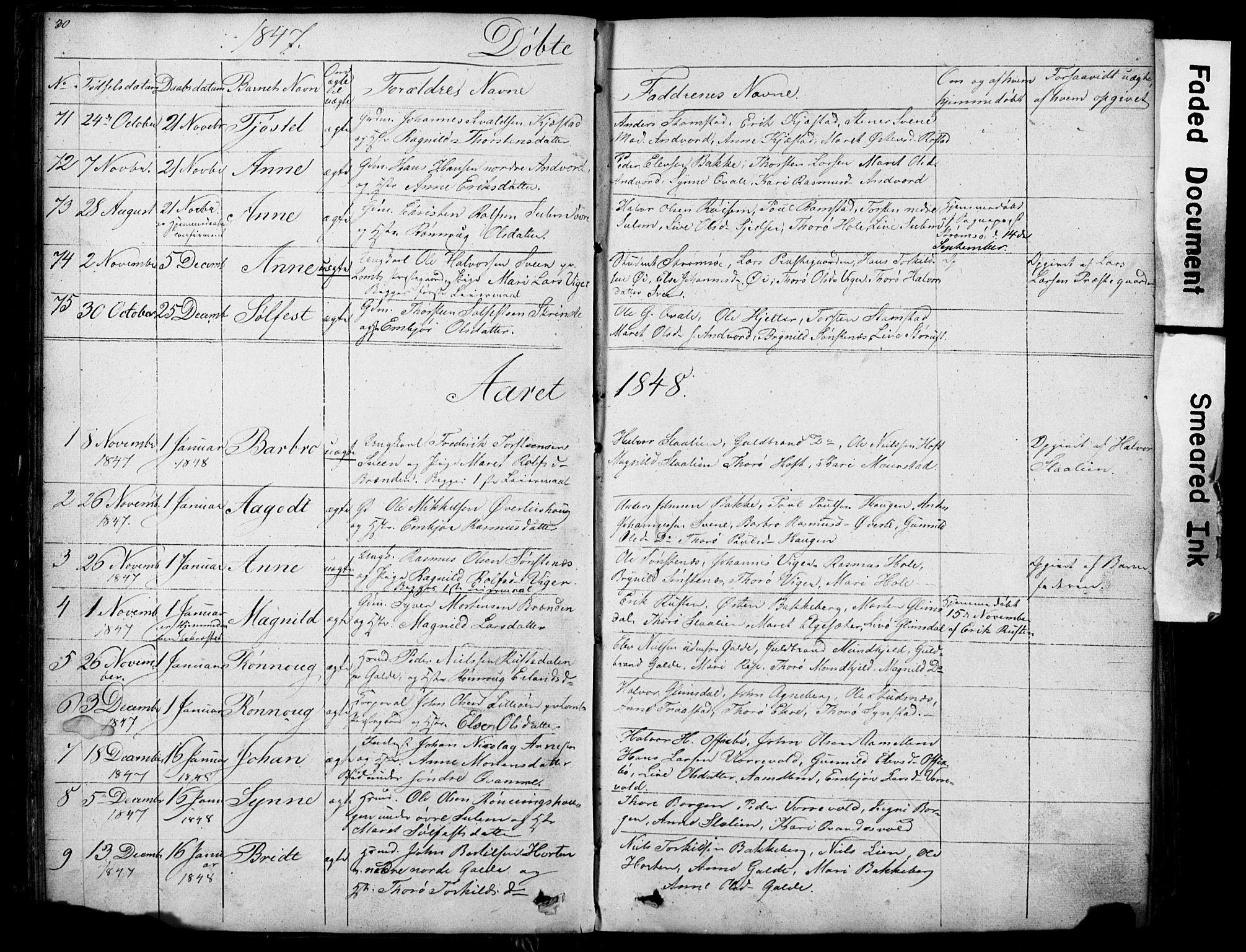 SAH, Lom prestekontor, L/L0012: Klokkerbok nr. 12, 1845-1873, s. 30-31