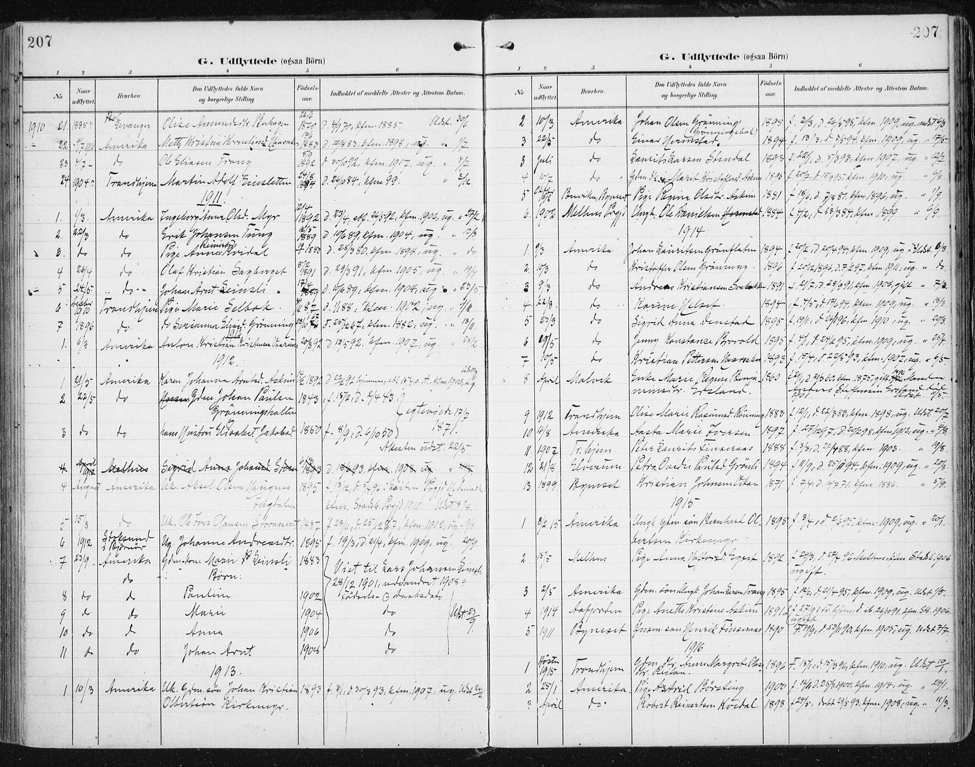 SAT, Ministerialprotokoller, klokkerbøker og fødselsregistre - Sør-Trøndelag, 646/L0616: Ministerialbok nr. 646A14, 1900-1918, s. 207