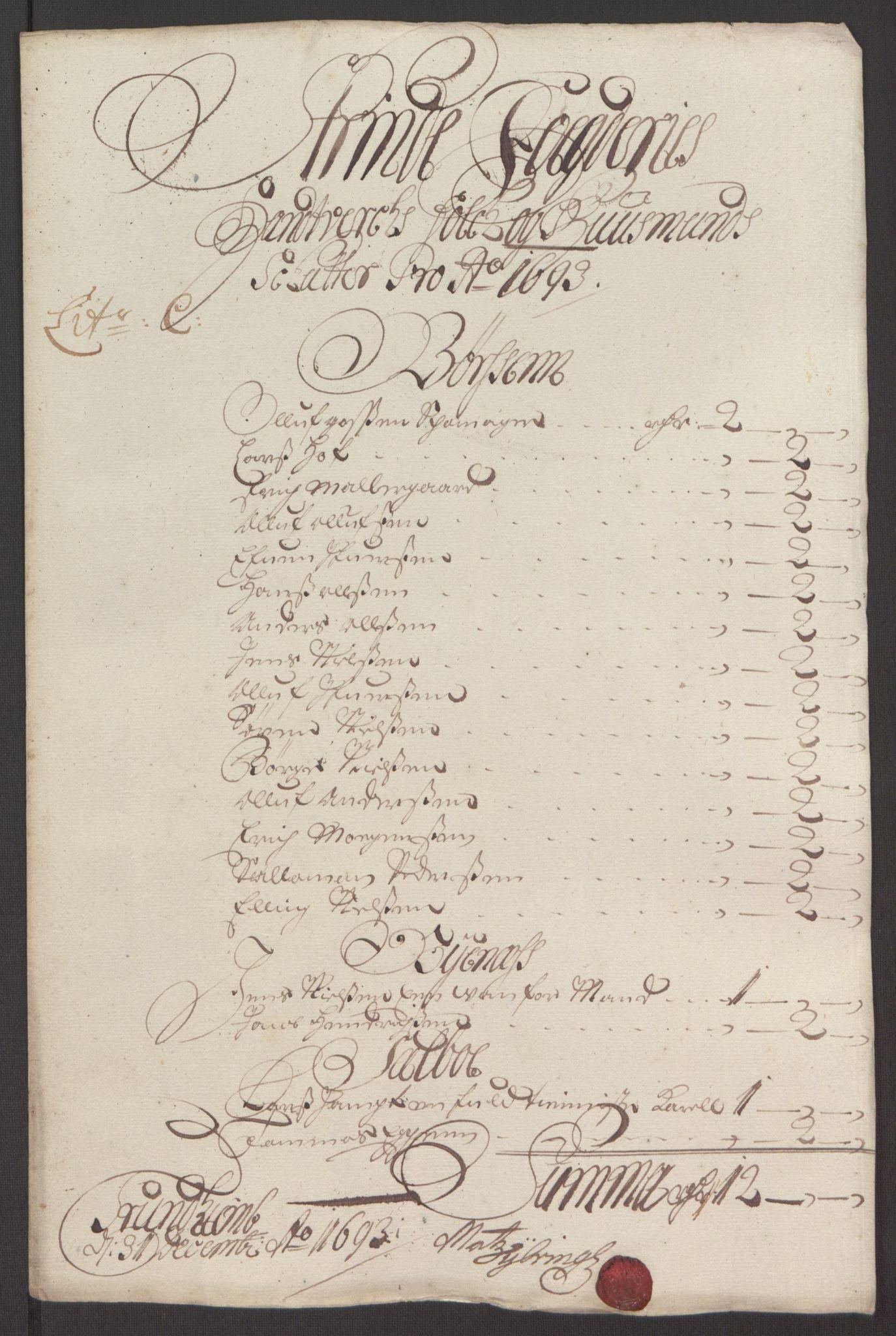 RA, Rentekammeret inntil 1814, Reviderte regnskaper, Fogderegnskap, R61/L4104: Fogderegnskap Strinda og Selbu, 1693-1694, s. 62