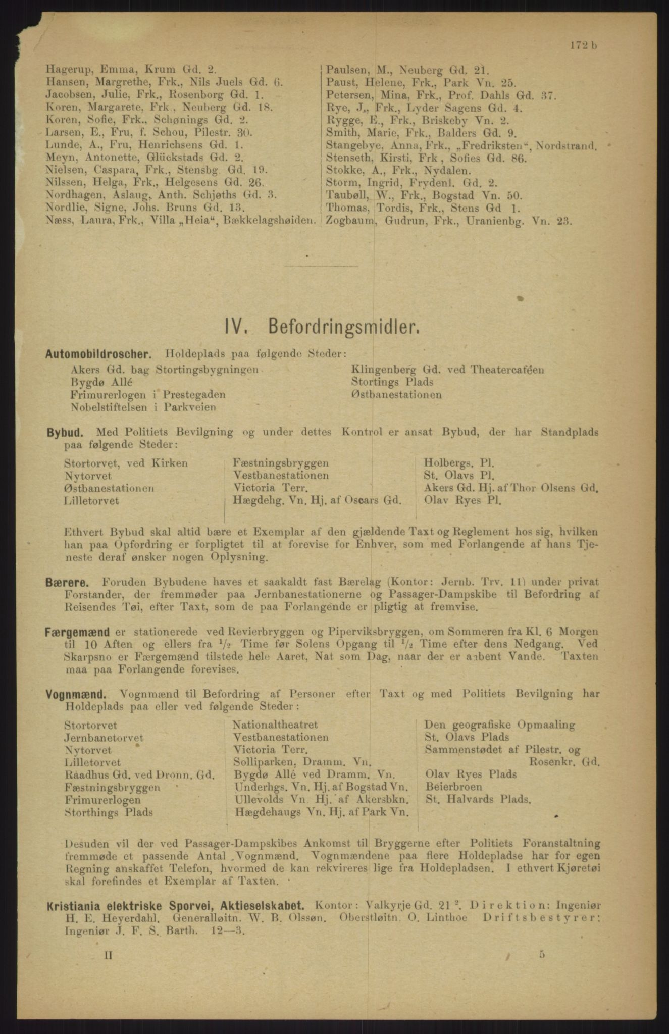 RA, Kristiania adressebok (publikasjon)*, 1911, s. 172