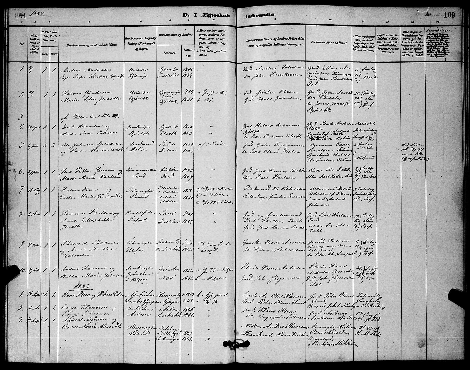 SAKO, Solum kirkebøker, G/Gb/L0003: Klokkerbok nr. II 3, 1880-1898, s. 109