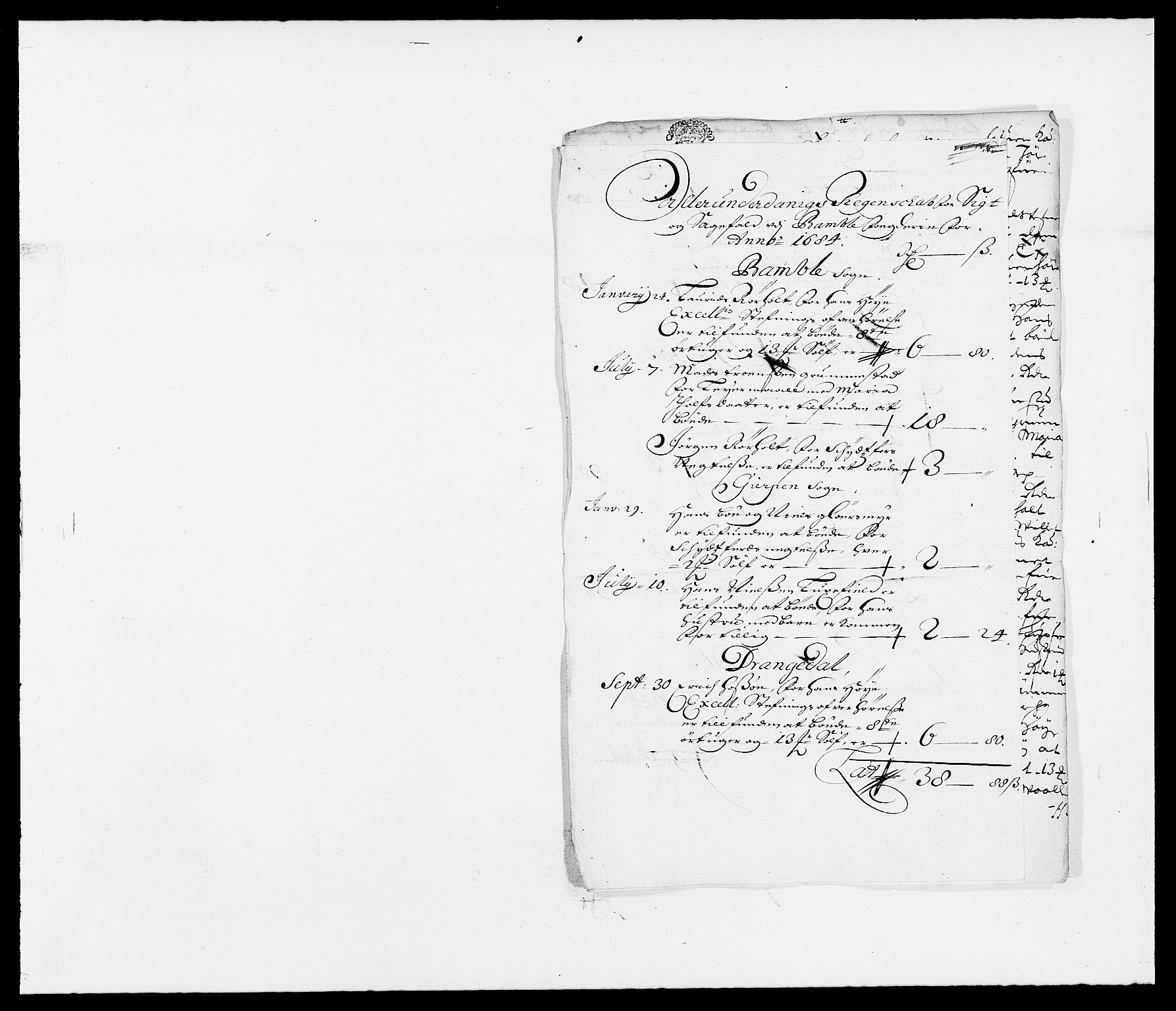 RA, Rentekammeret inntil 1814, Reviderte regnskaper, Fogderegnskap, R34/L2047: Fogderegnskap Bamble, 1684, s. 14