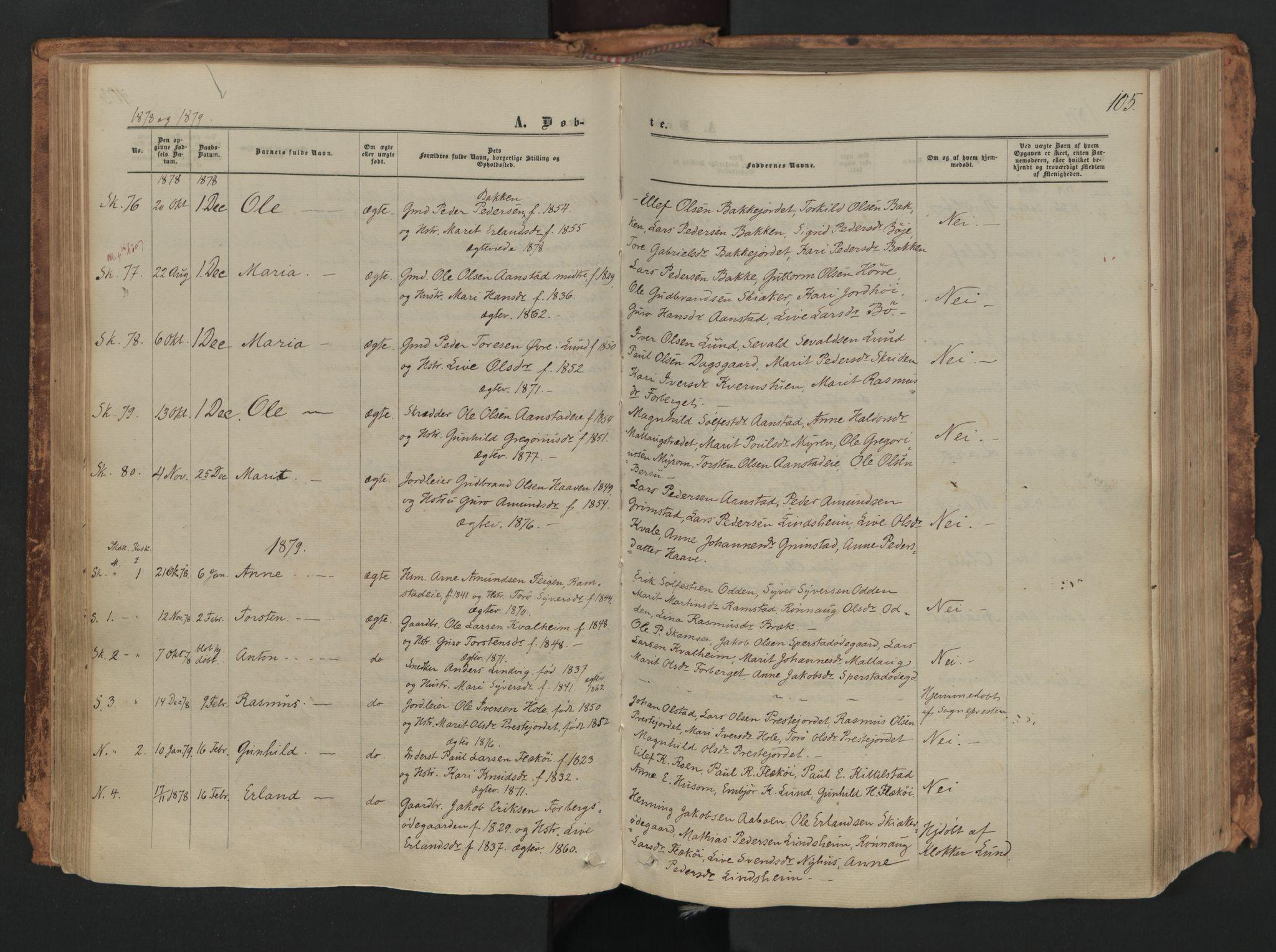 SAH, Skjåk prestekontor, Ministerialbok nr. 1, 1863-1879, s. 105