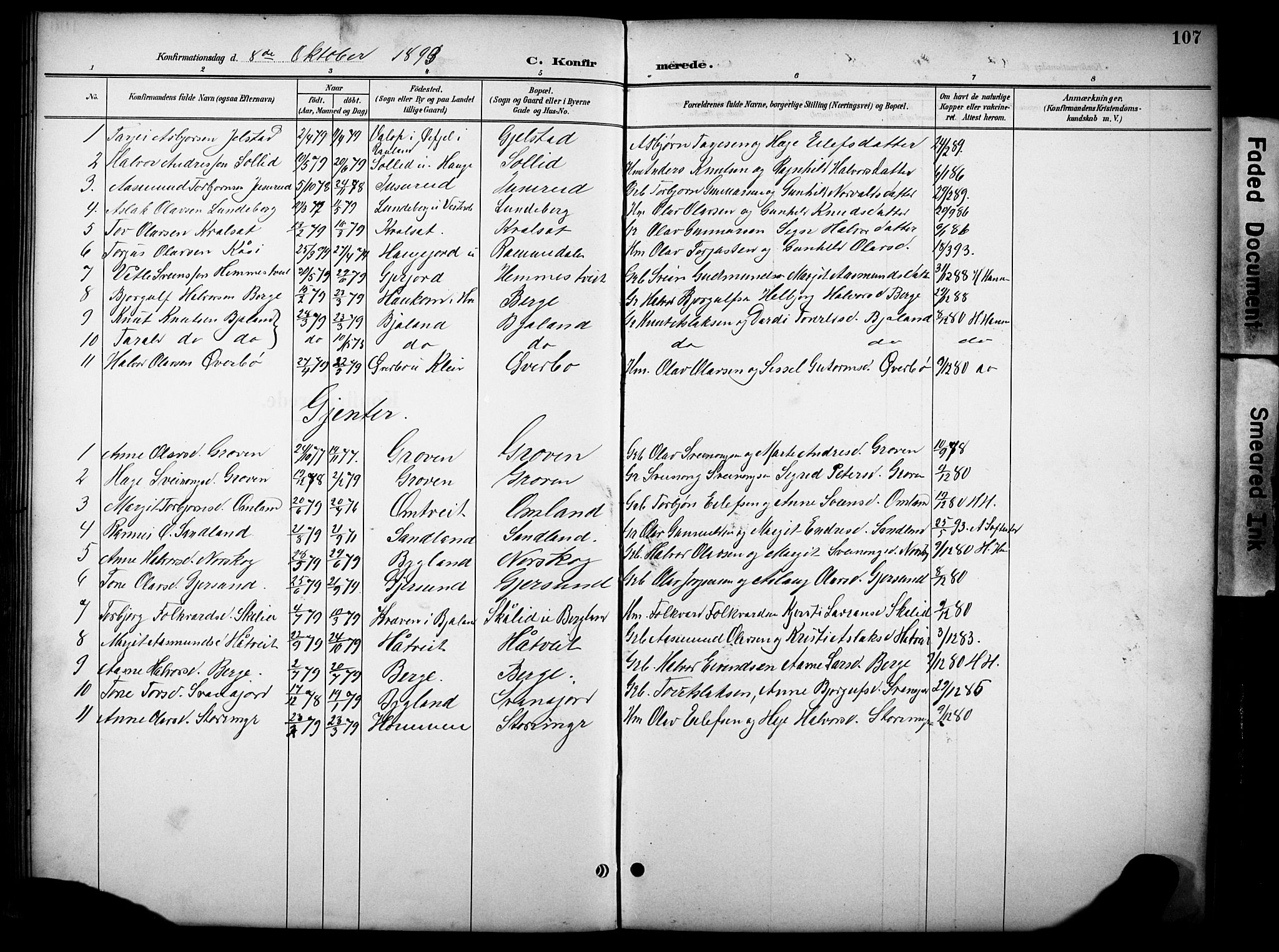 SAKO, Kviteseid kirkebøker, G/Gb/L0003: Klokkerbok nr. II 3, 1893-1933, s. 107