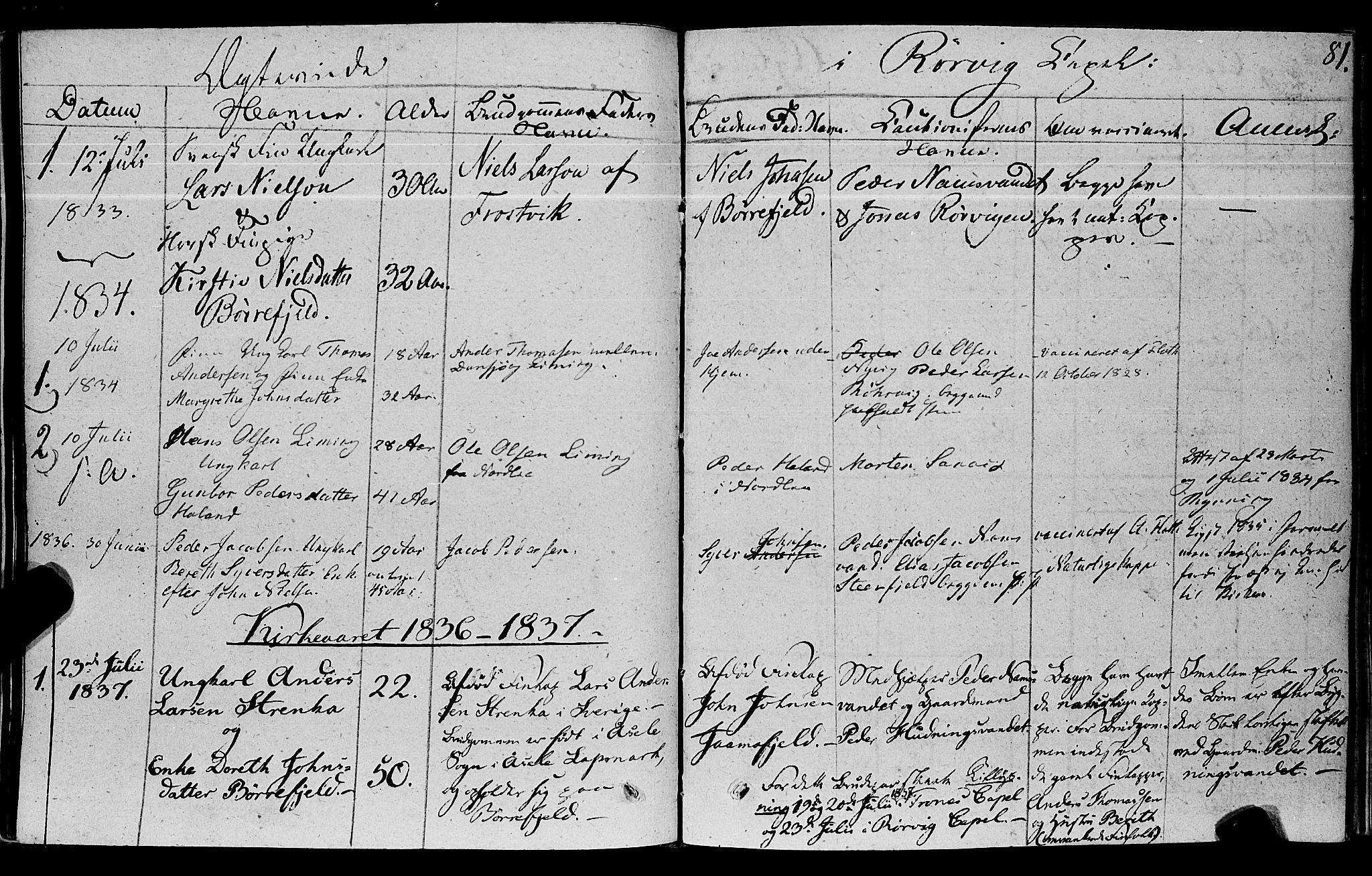 SAT, Ministerialprotokoller, klokkerbøker og fødselsregistre - Nord-Trøndelag, 762/L0538: Ministerialbok nr. 762A02 /1, 1833-1879, s. 81