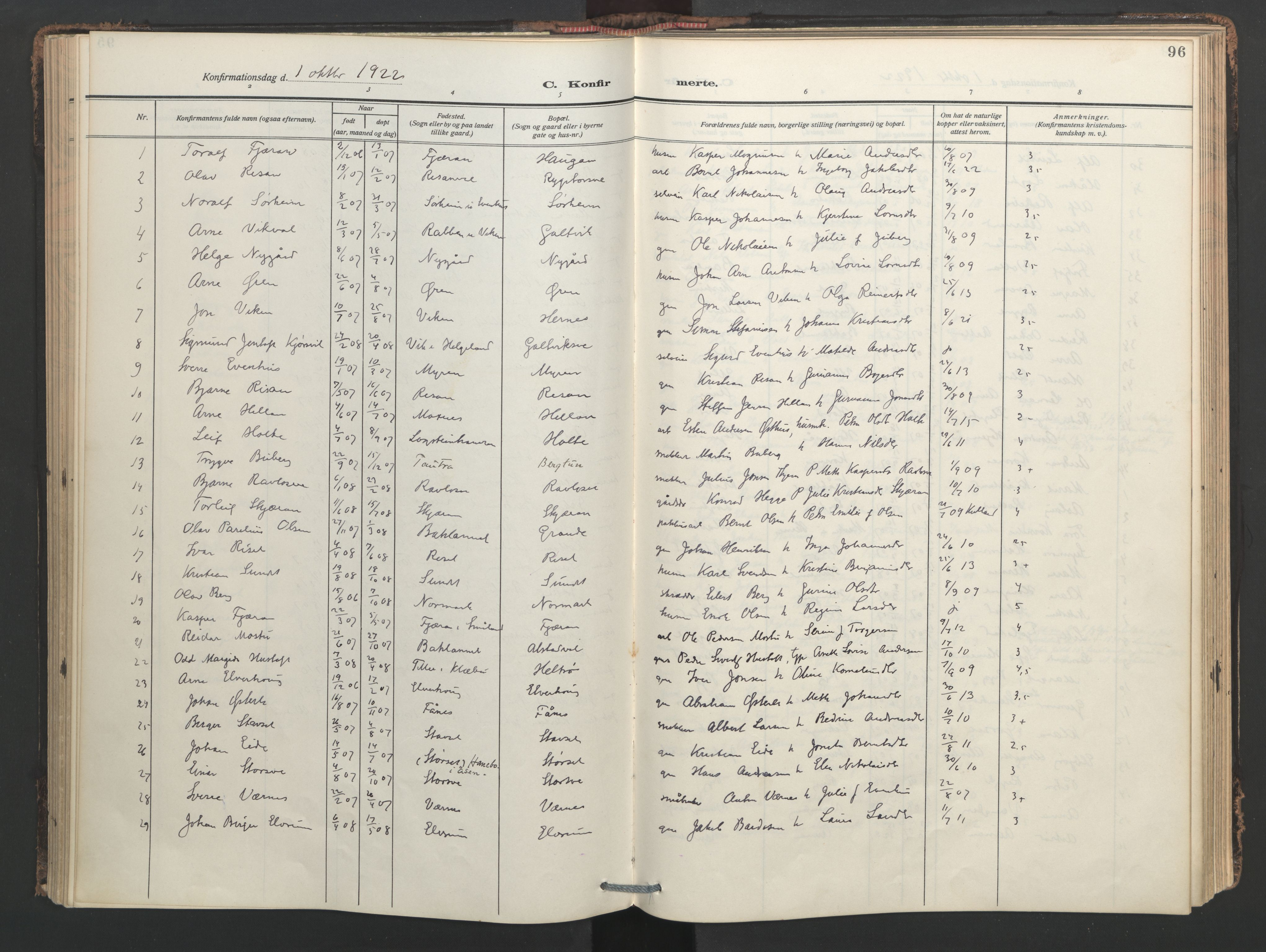 SAT, Ministerialprotokoller, klokkerbøker og fødselsregistre - Nord-Trøndelag, 713/L0123: Ministerialbok nr. 713A12, 1911-1925, s. 96