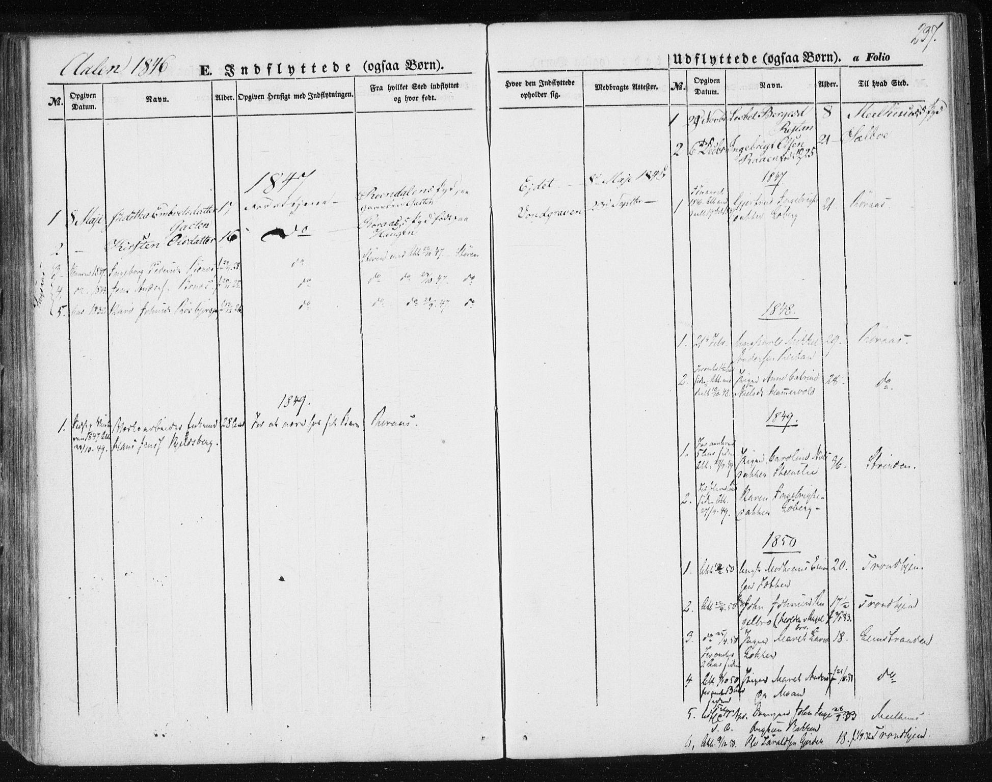 SAT, Ministerialprotokoller, klokkerbøker og fødselsregistre - Sør-Trøndelag, 685/L0965: Ministerialbok nr. 685A06 /3, 1846-1859, s. 237