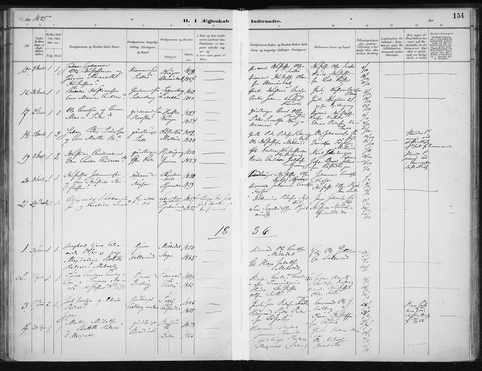 SAT, Ministerialprotokoller, klokkerbøker og fødselsregistre - Nord-Trøndelag, 701/L0010: Ministerialbok nr. 701A10, 1883-1899, s. 154