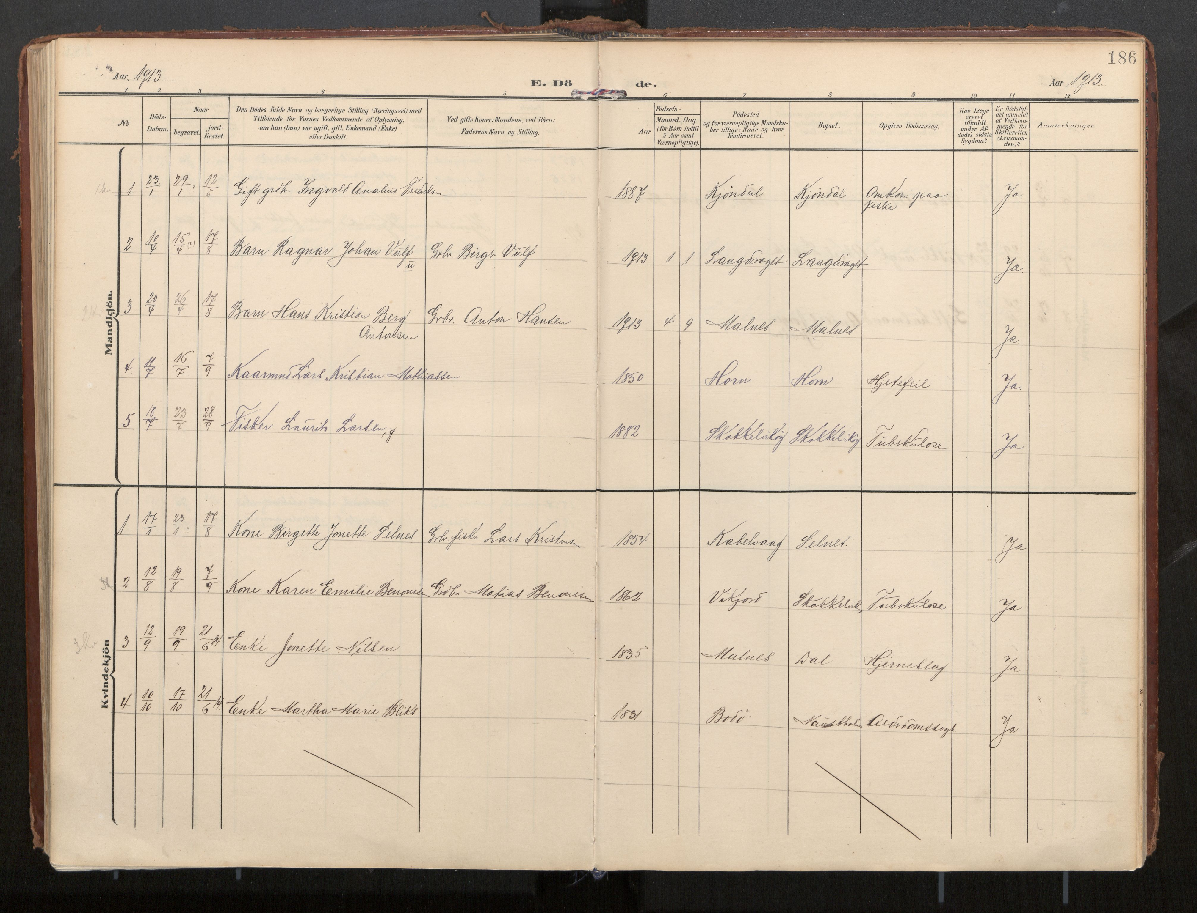 SAT, Ministerialprotokoller, klokkerbøker og fødselsregistre - Nordland, 884/L1194: Ministerialbok nr. 884A02, 1906-1937, s. 186