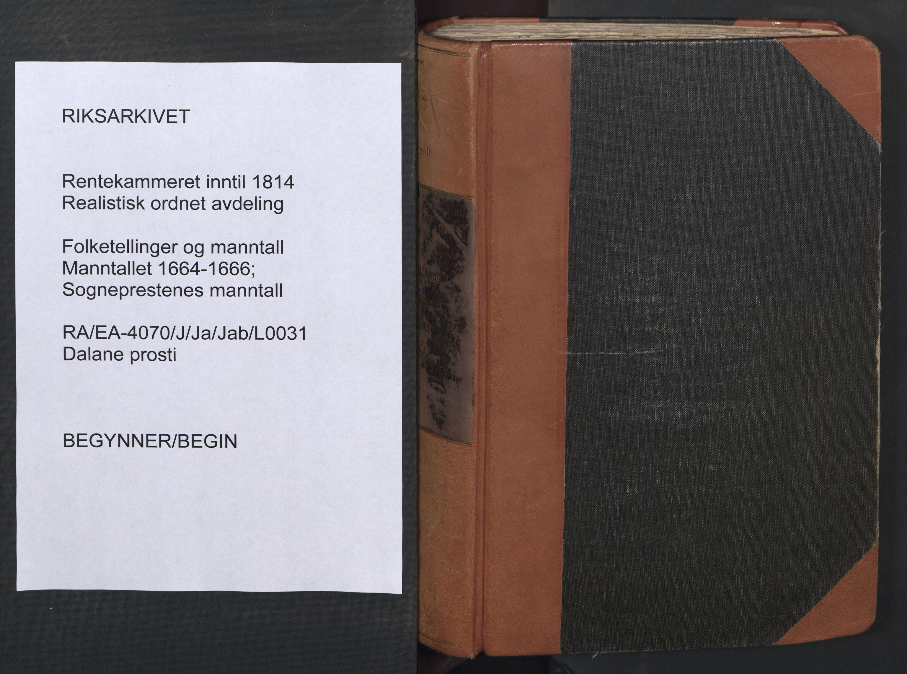 RA, Sogneprestenes manntall 1664-1666, nr. 31: Dalane prosti, 1664-1666