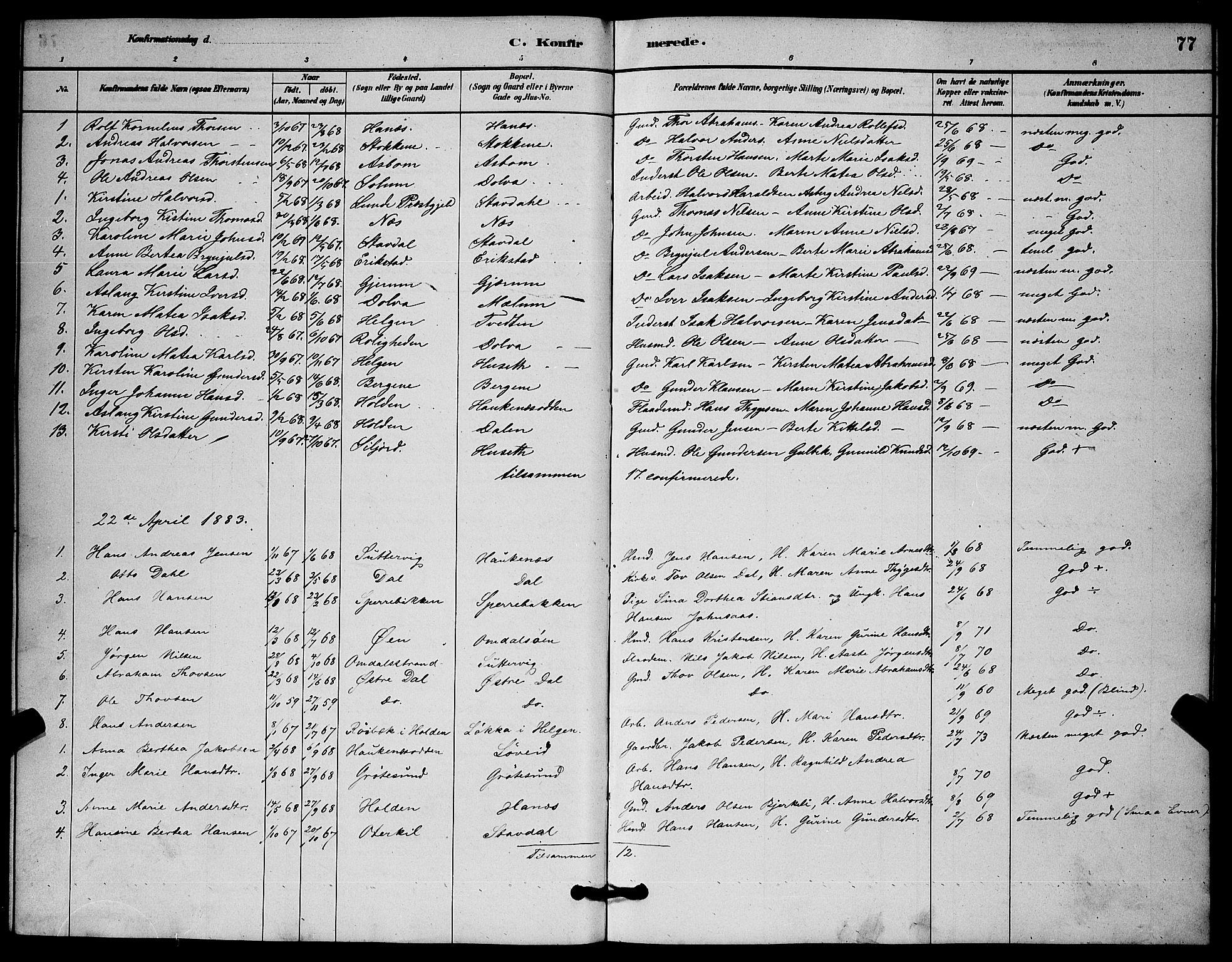 SAKO, Solum kirkebøker, G/Gb/L0003: Klokkerbok nr. II 3, 1880-1898, s. 77