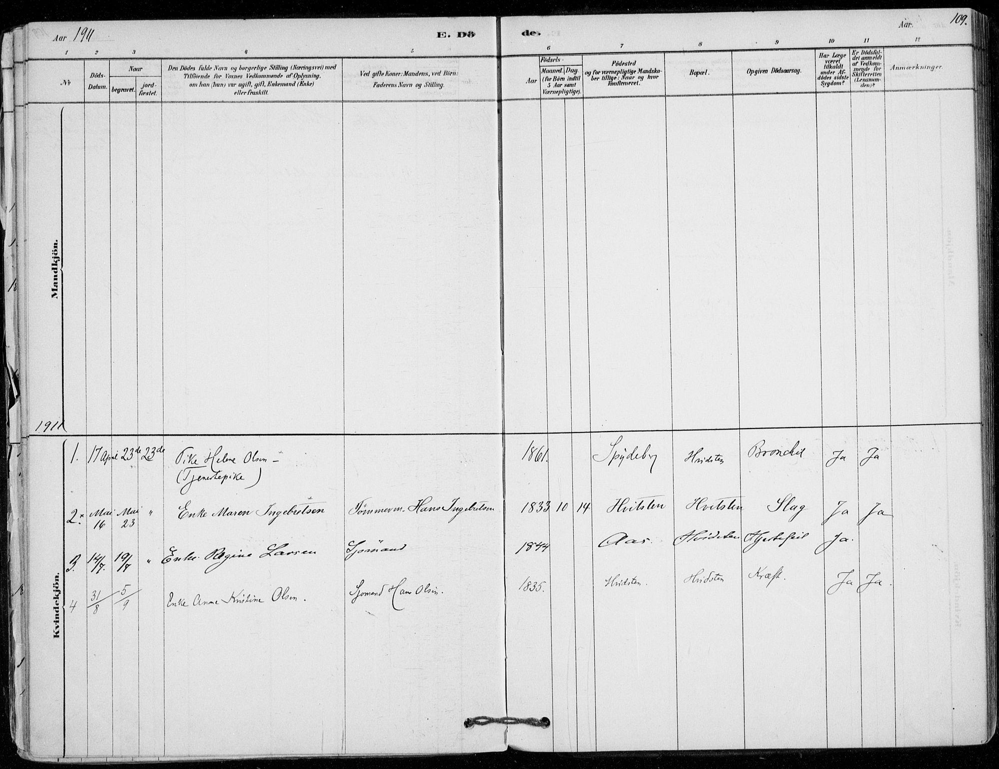 SAO, Vestby prestekontor Kirkebøker, F/Fd/L0001: Ministerialbok nr. IV 1, 1878-1945, s. 109