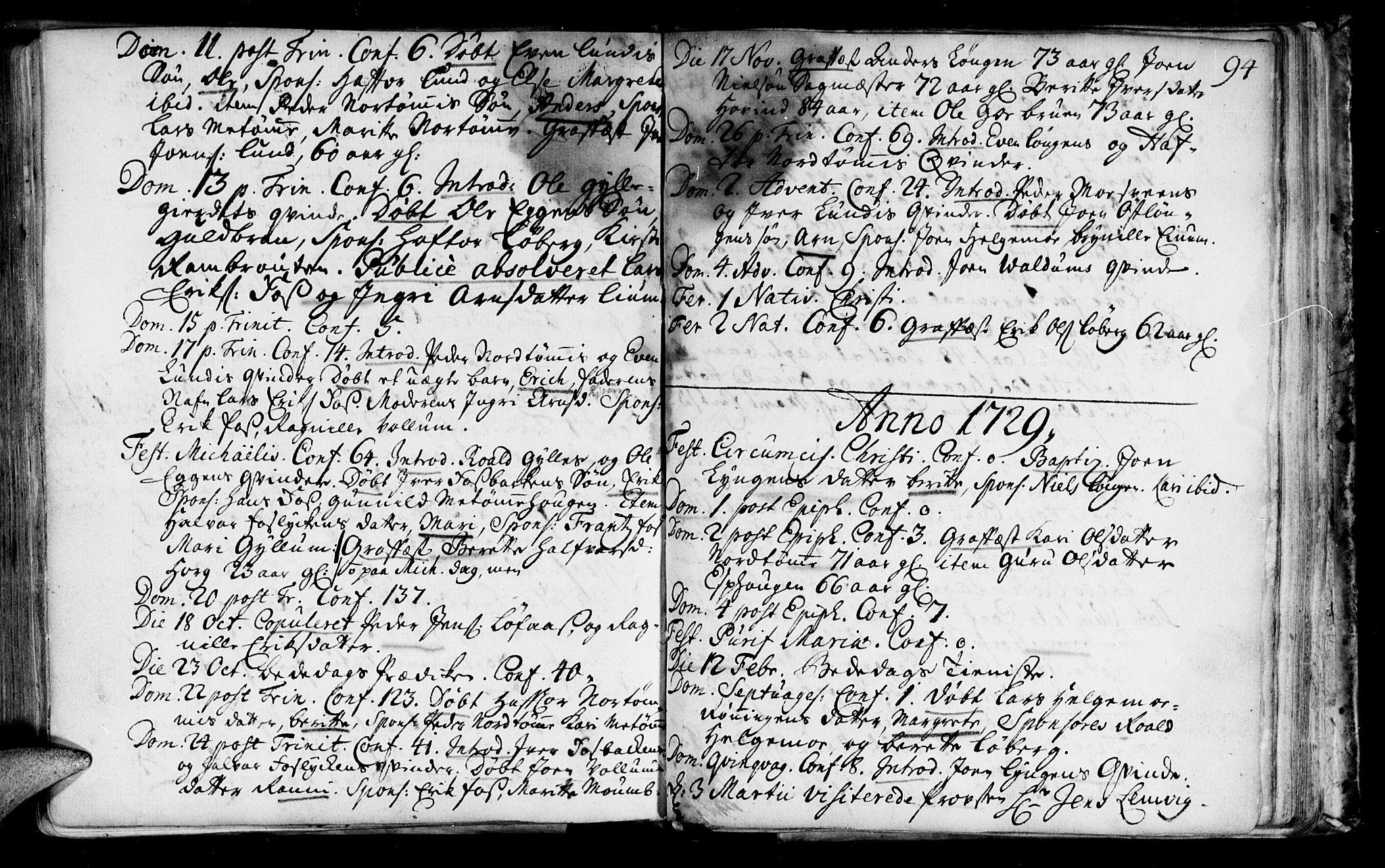 SAT, Ministerialprotokoller, klokkerbøker og fødselsregistre - Sør-Trøndelag, 692/L1101: Ministerialbok nr. 692A01, 1690-1746, s. 94