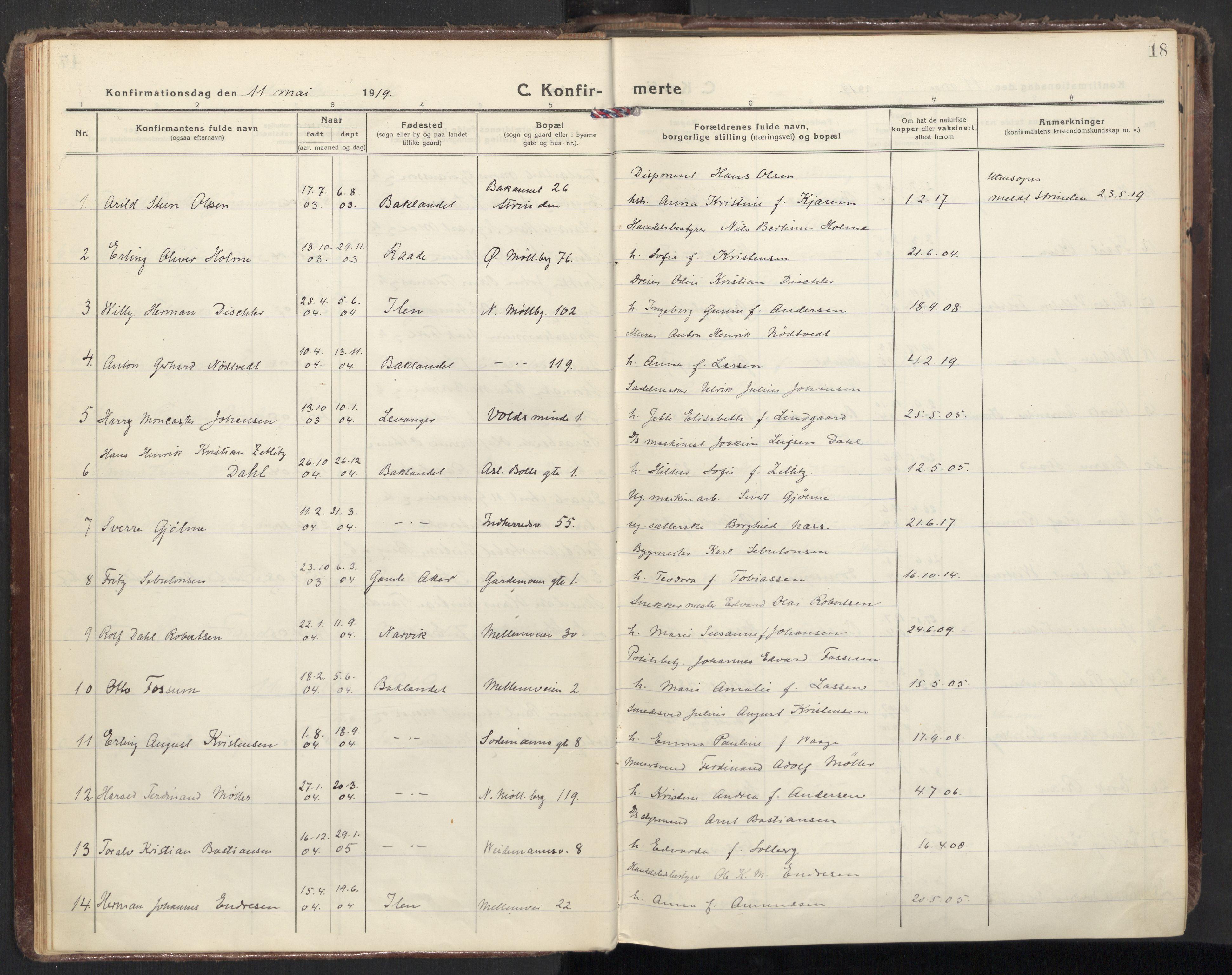 SAT, Ministerialprotokoller, klokkerbøker og fødselsregistre - Sør-Trøndelag, 605/L0247: Ministerialbok nr. 605A09, 1918-1930, s. 18