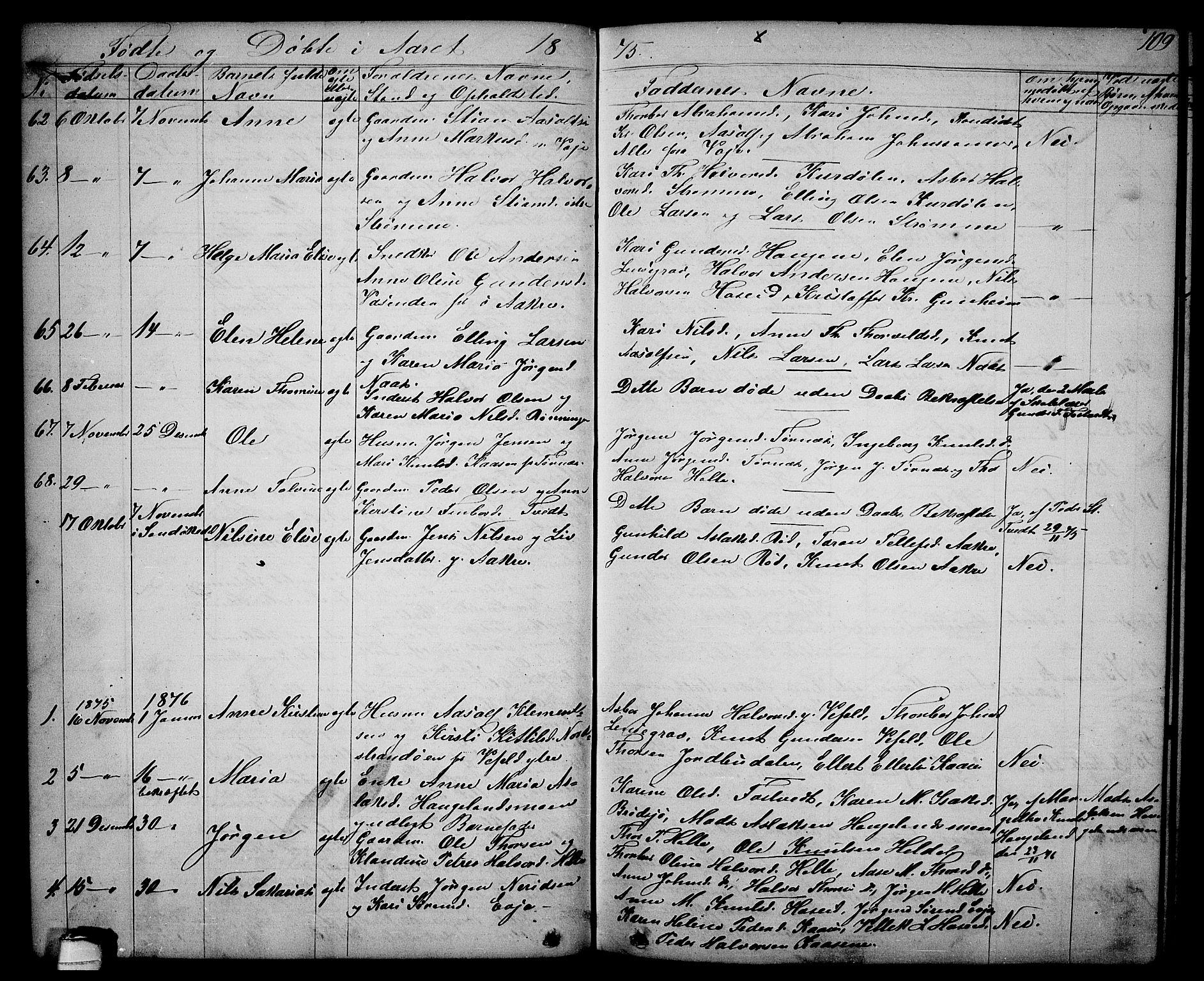 SAKO, Drangedal kirkebøker, G/Ga/L0002: Klokkerbok nr. I 2, 1856-1887, s. 109