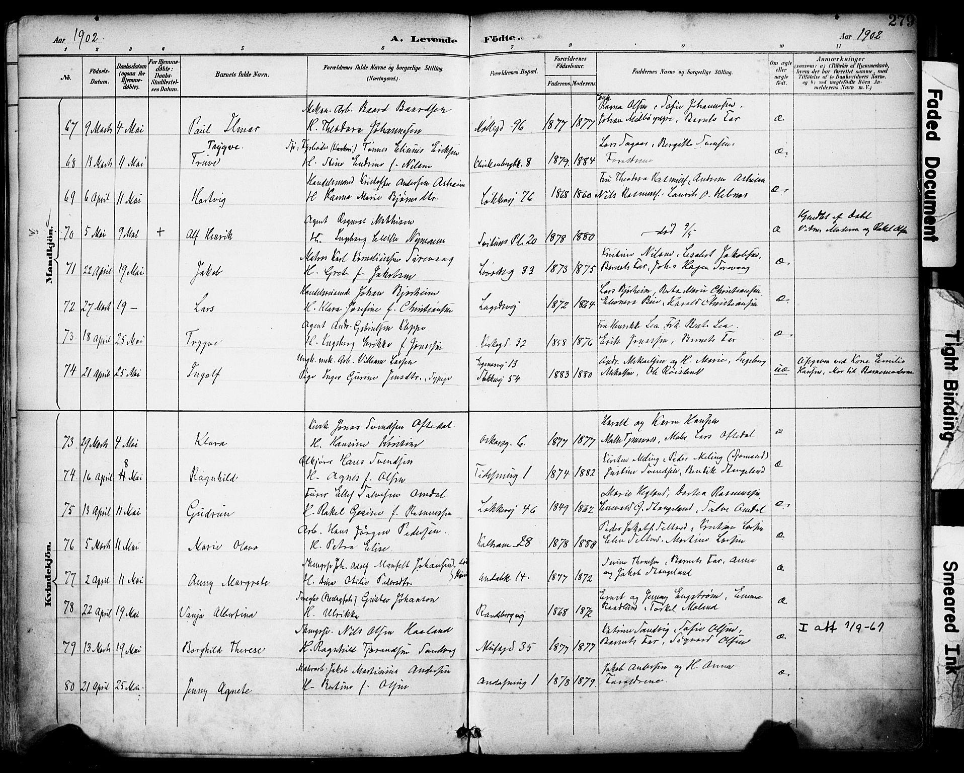 SAST, Domkirken sokneprestkontor, 30/30BA/L0030: Ministerialbok nr. A 29, 1889-1902, s. 279
