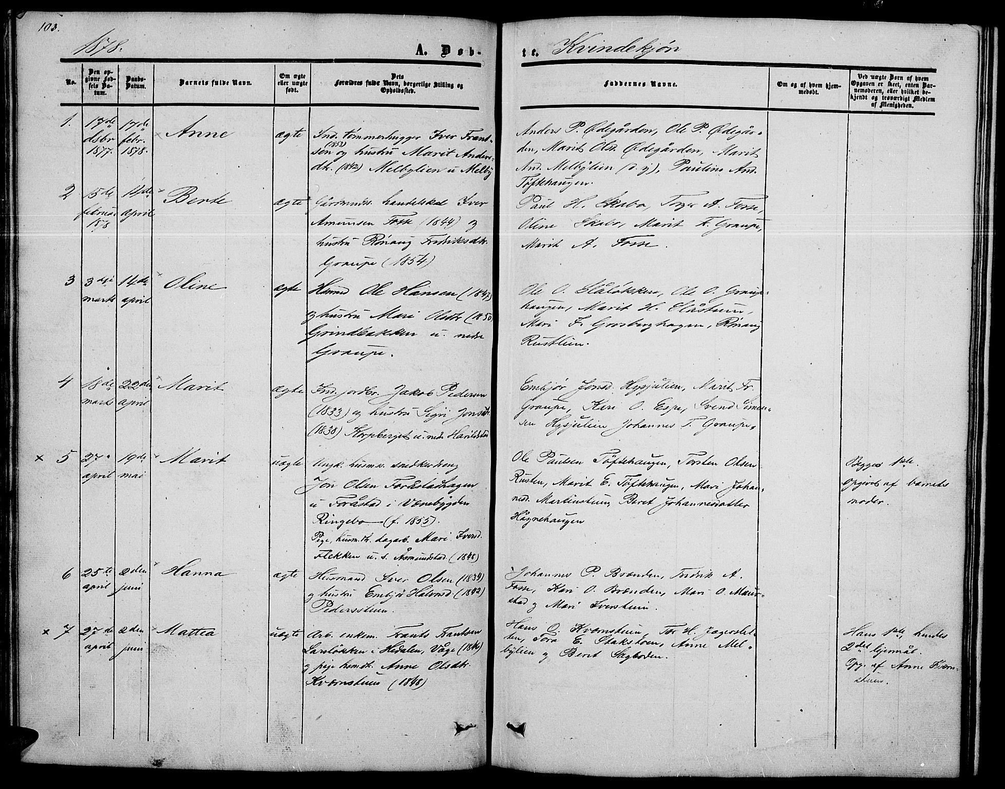 SAH, Nord-Fron prestekontor, Klokkerbok nr. 2, 1851-1883, s. 103