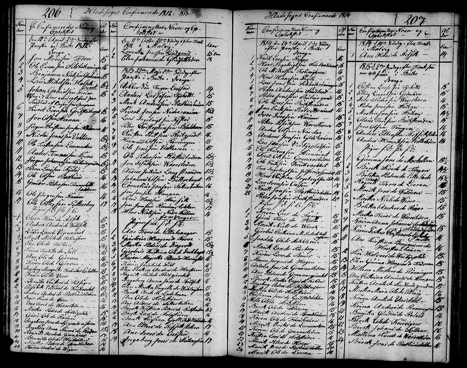 SAT, Ministerialprotokoller, klokkerbøker og fødselsregistre - Sør-Trøndelag, 606/L0306: Klokkerbok nr. 606C02, 1797-1829, s. 206-207