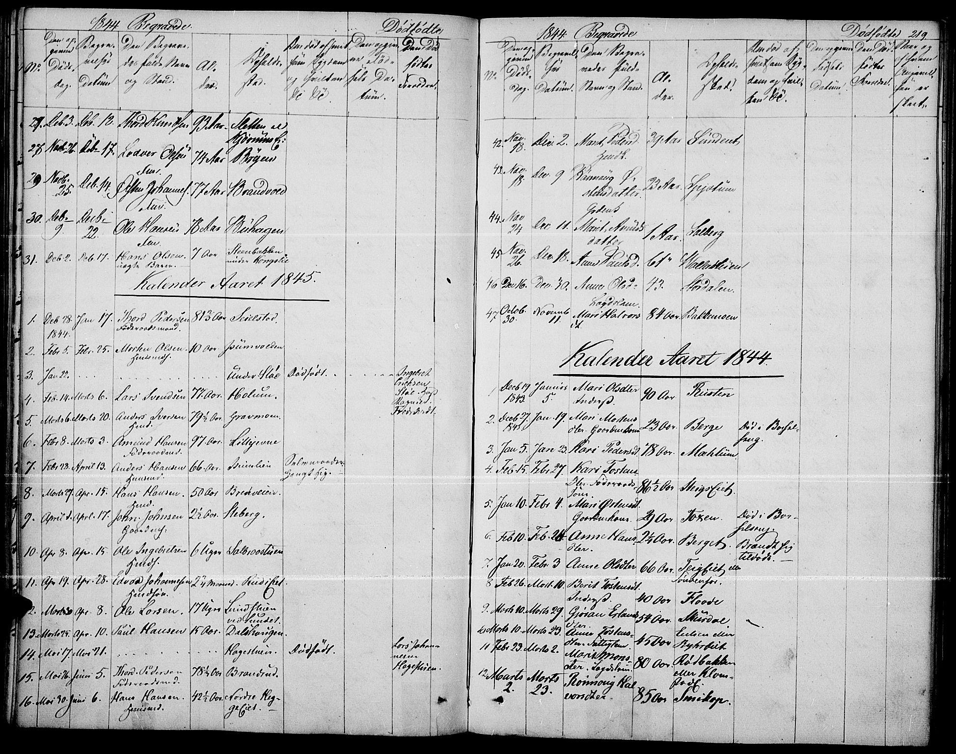 SAH, Fron prestekontor, H/Ha/Haa/L0004: Ministerialbok nr. 4, 1839-1848, s. 219