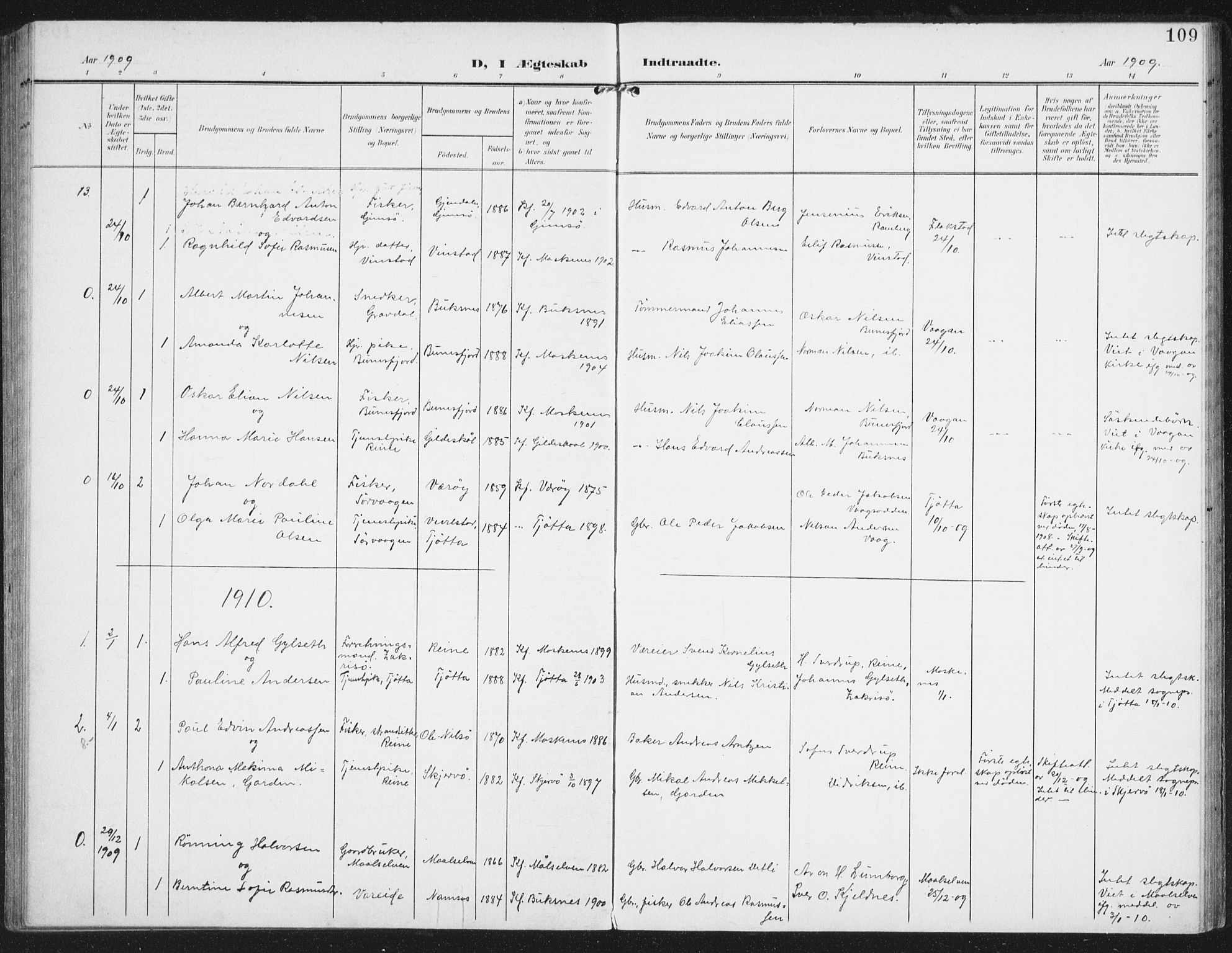 SAT, Ministerialprotokoller, klokkerbøker og fødselsregistre - Nordland, 886/L1221: Ministerialbok nr. 886A03, 1903-1913, s. 109