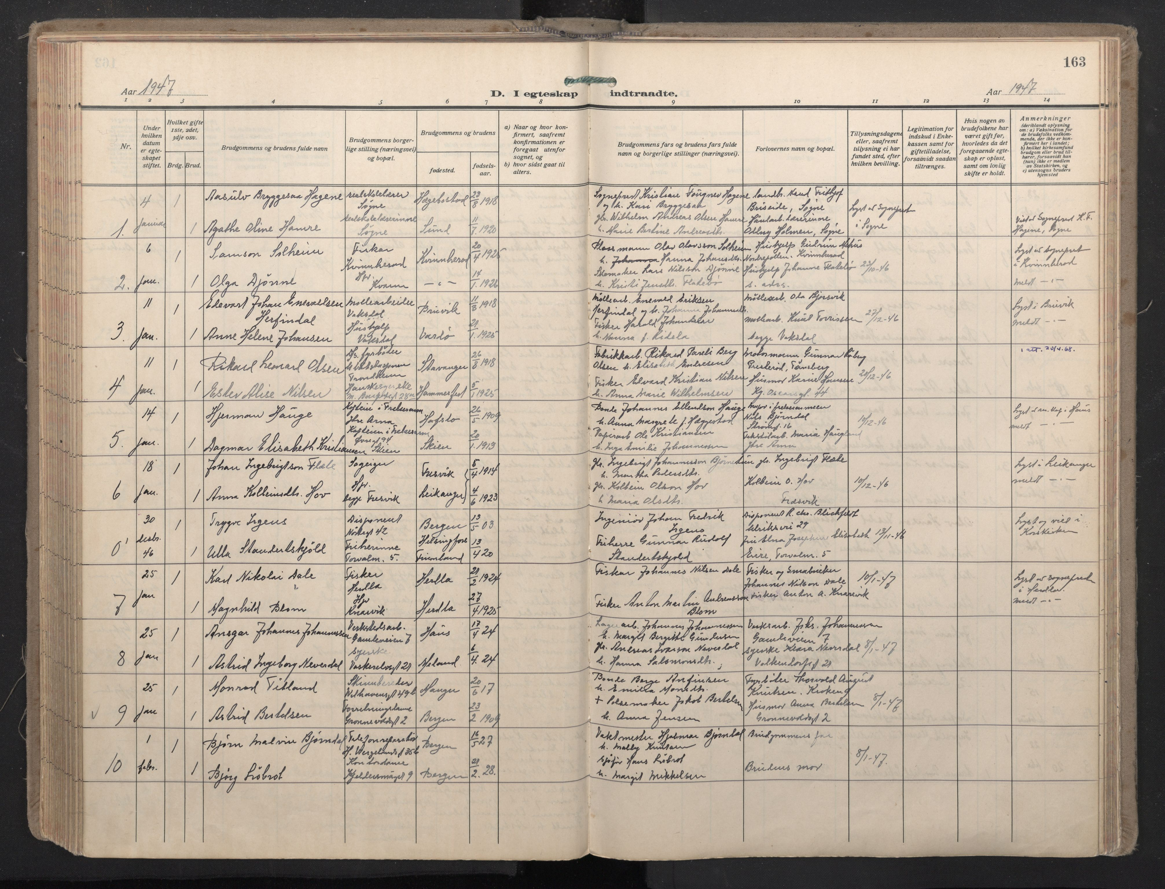 SAB, Domkirken Sokneprestembete, H/Haa: Ministerialbok nr. D 7, 1937-1950, s. 162b-163a