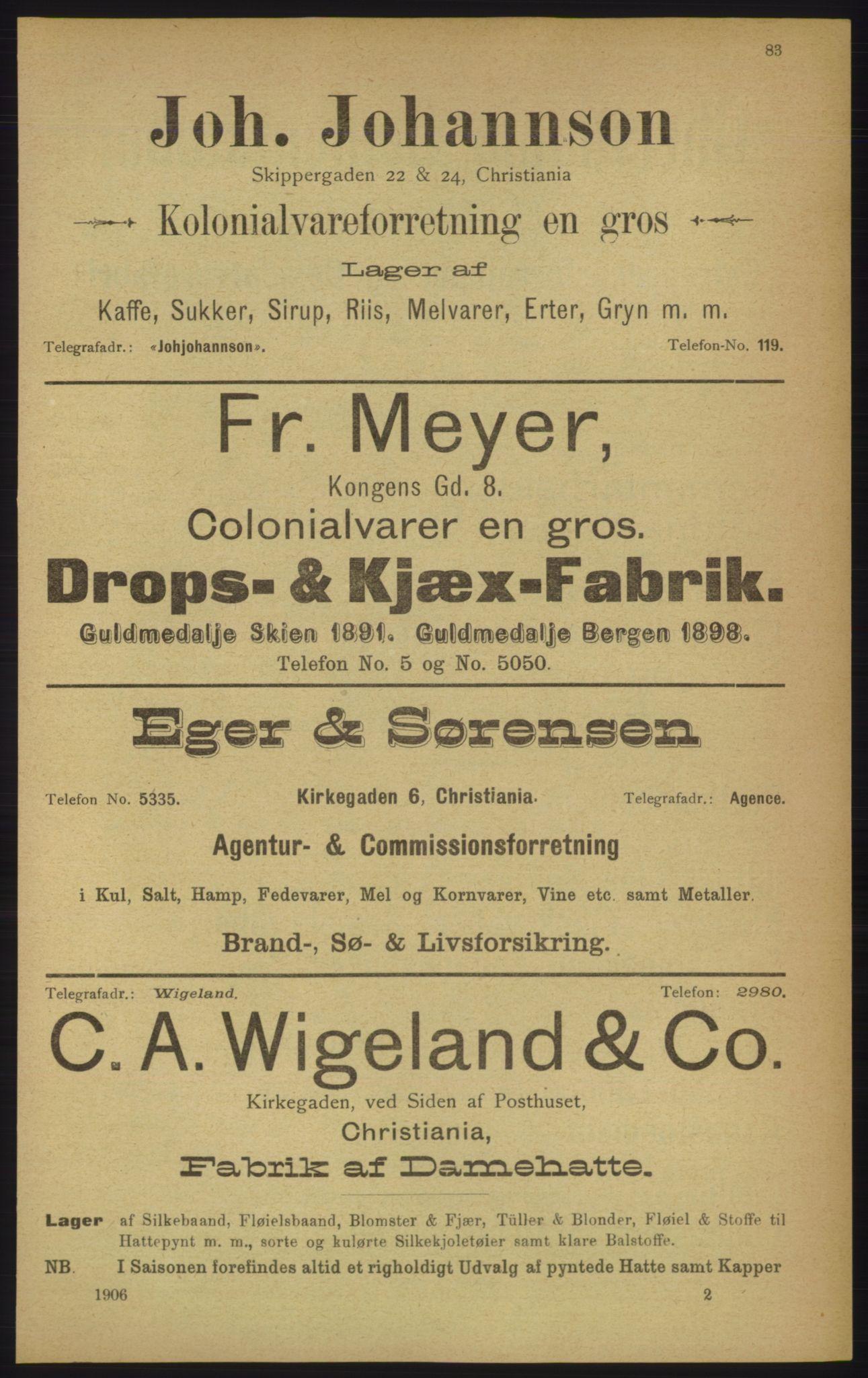 RA, Kristiania adressebok (publikasjon)*, 1906, s. 83