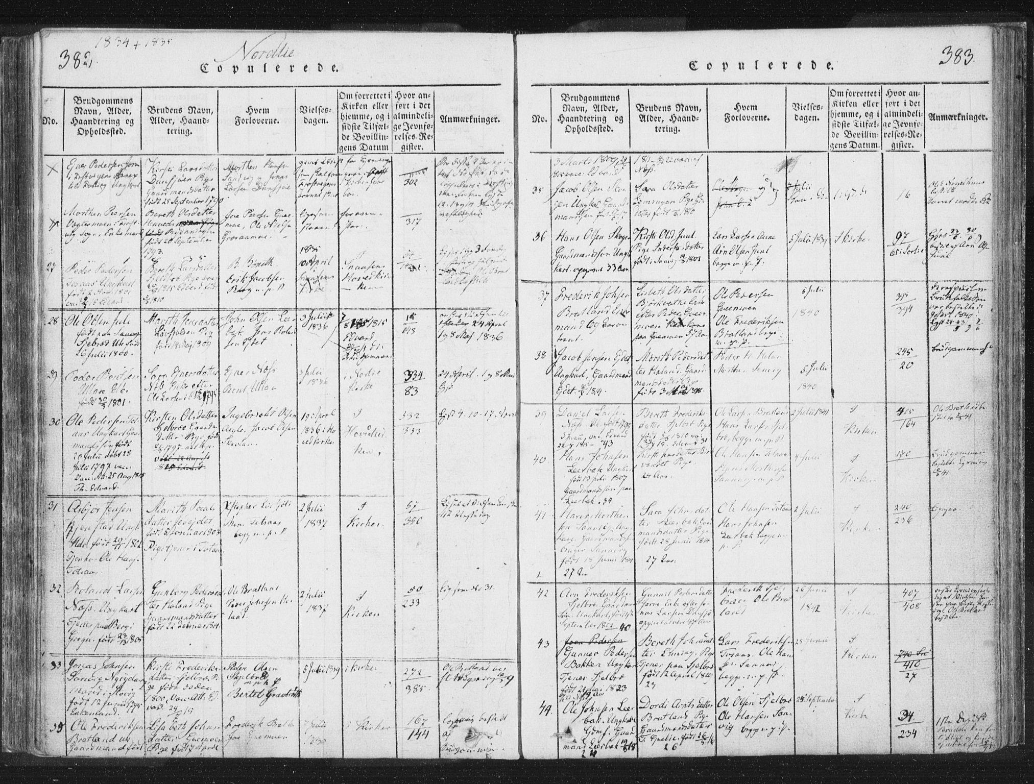 SAT, Ministerialprotokoller, klokkerbøker og fødselsregistre - Nord-Trøndelag, 755/L0491: Ministerialbok nr. 755A01 /1, 1817-1864, s. 382-383