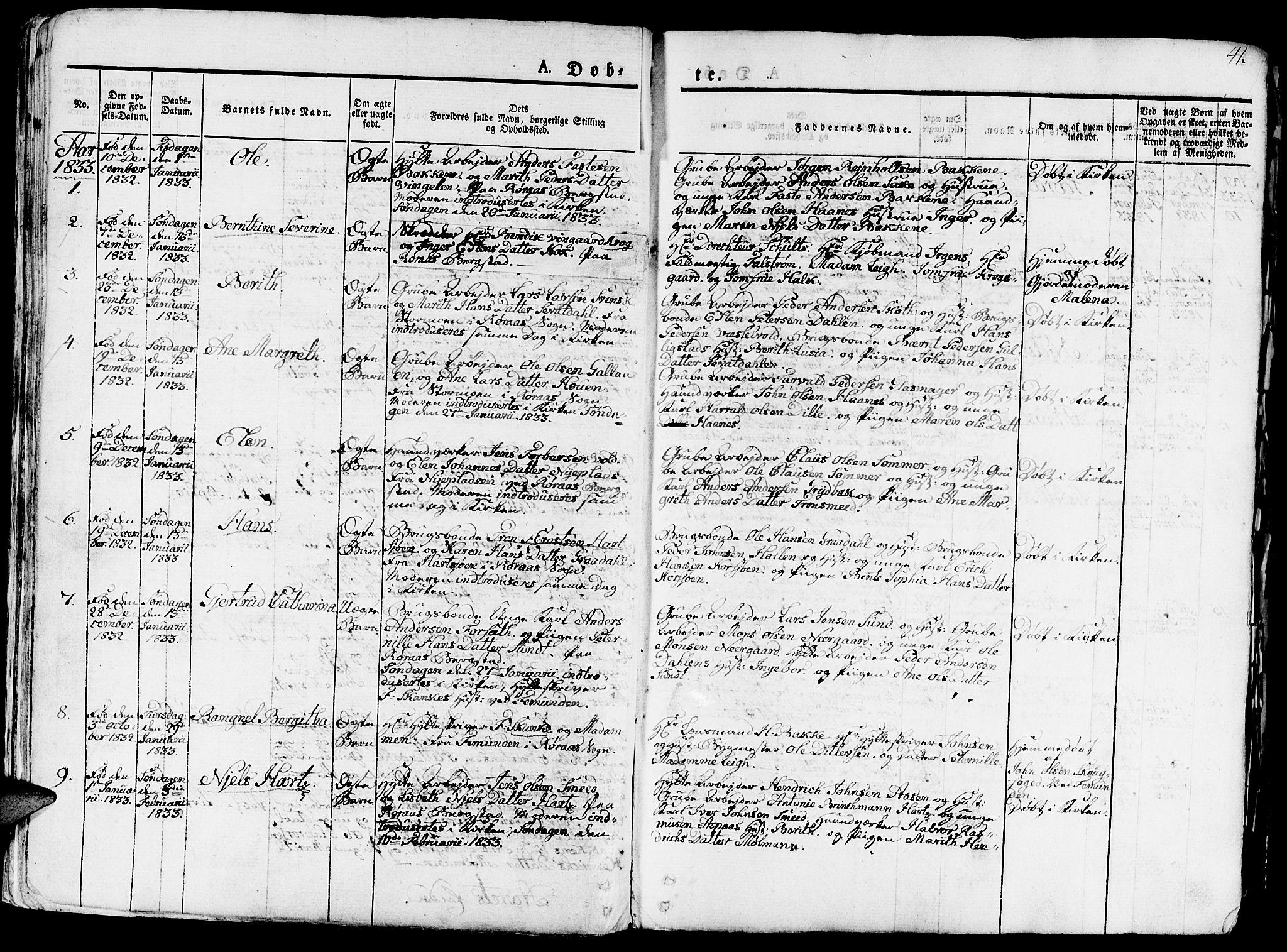 SAT, Ministerialprotokoller, klokkerbøker og fødselsregistre - Sør-Trøndelag, 681/L0938: Klokkerbok nr. 681C02, 1829-1879, s. 41