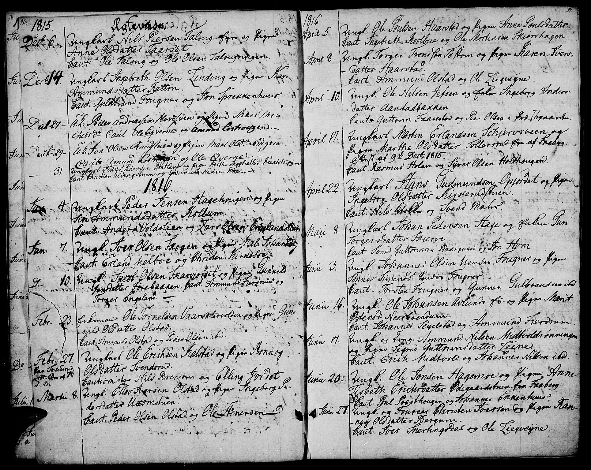 SAH, Gausdal prestekontor, Ministerialbok nr. 4, 1809-1817, s. 20-21